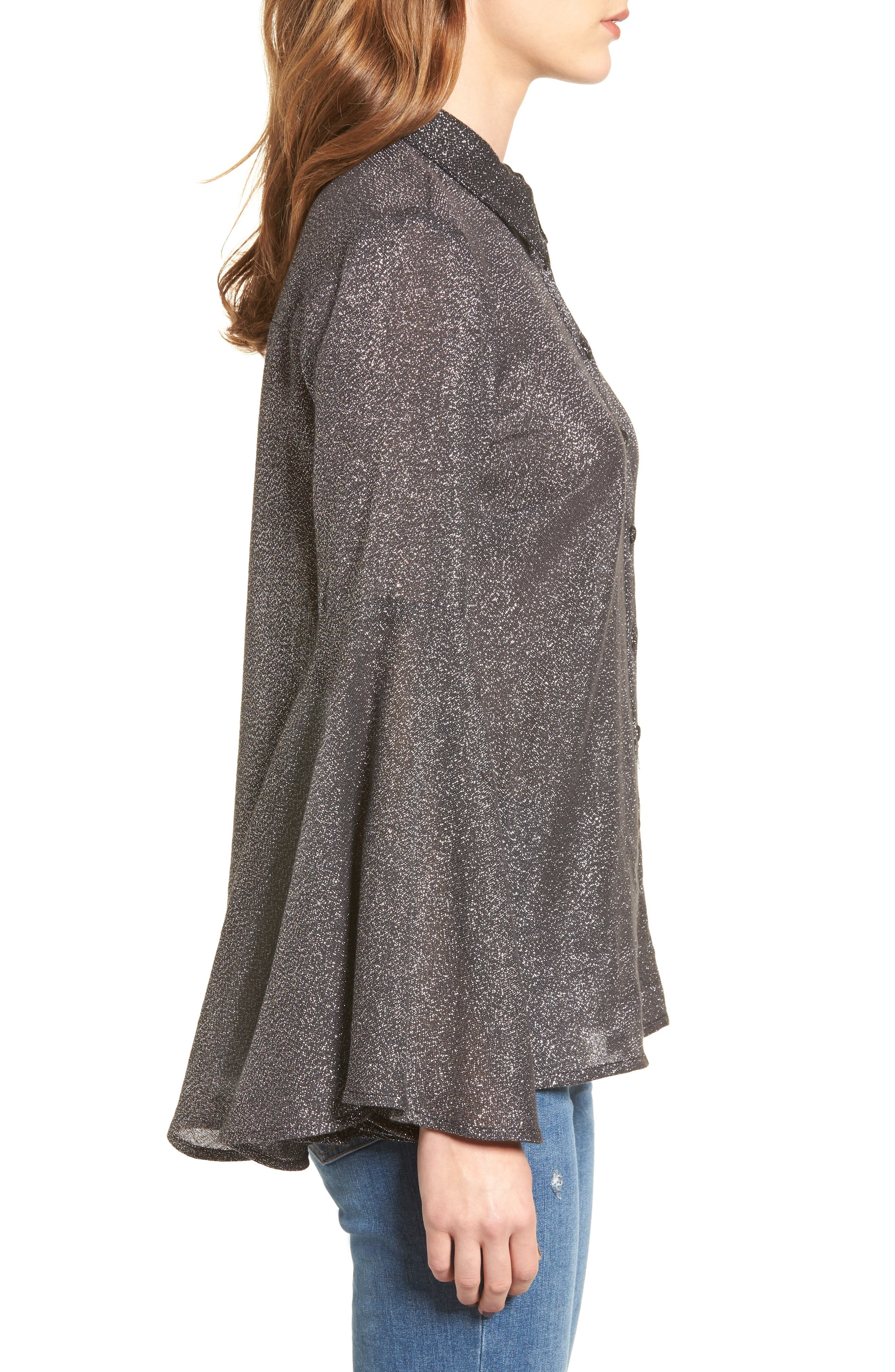 Sparkly Bell Sleeve Shirt,                             Alternate thumbnail 3, color,                             001