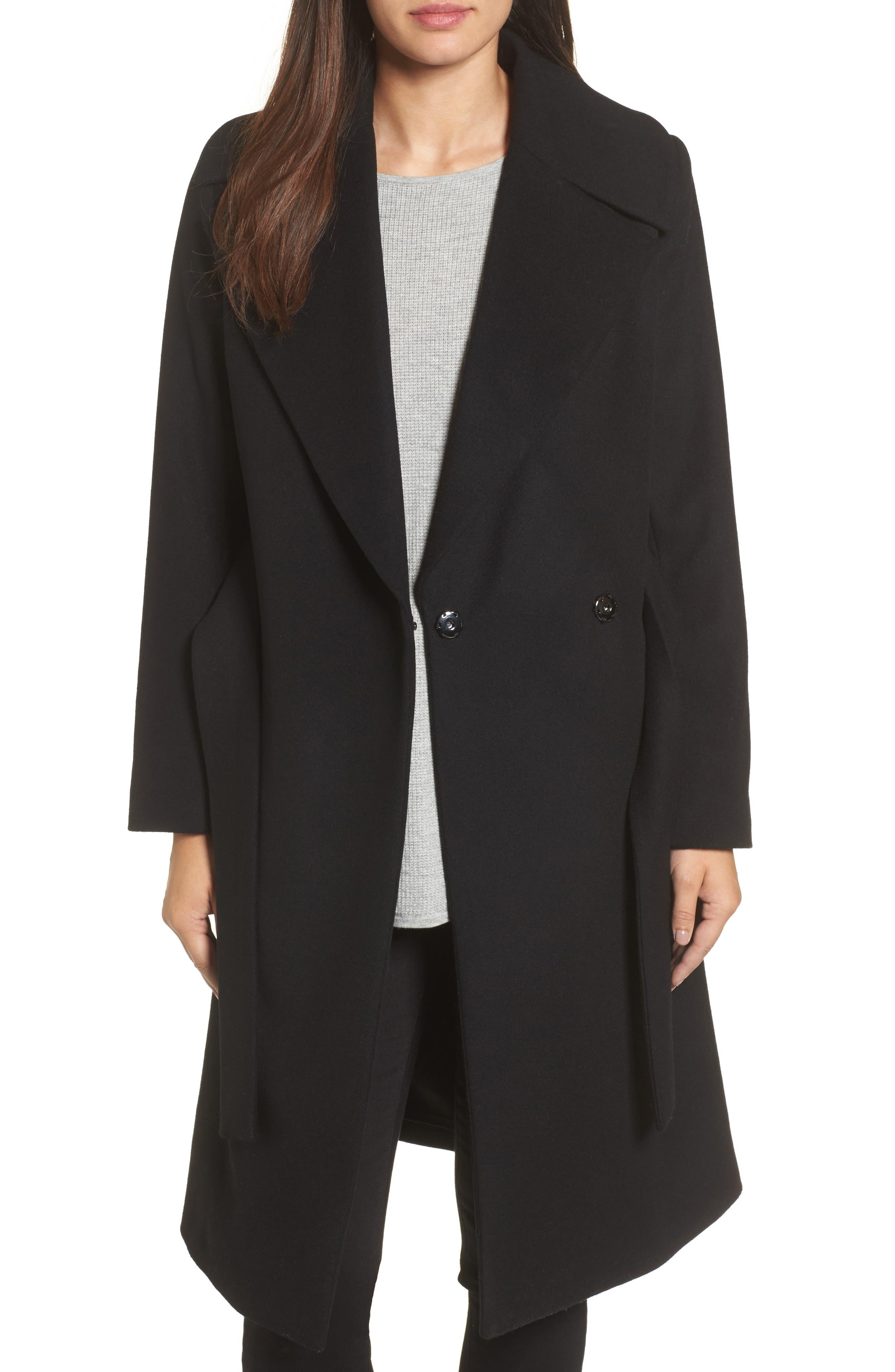 Luna Wool Blend Wrap Coat,                             Main thumbnail 1, color,                             001