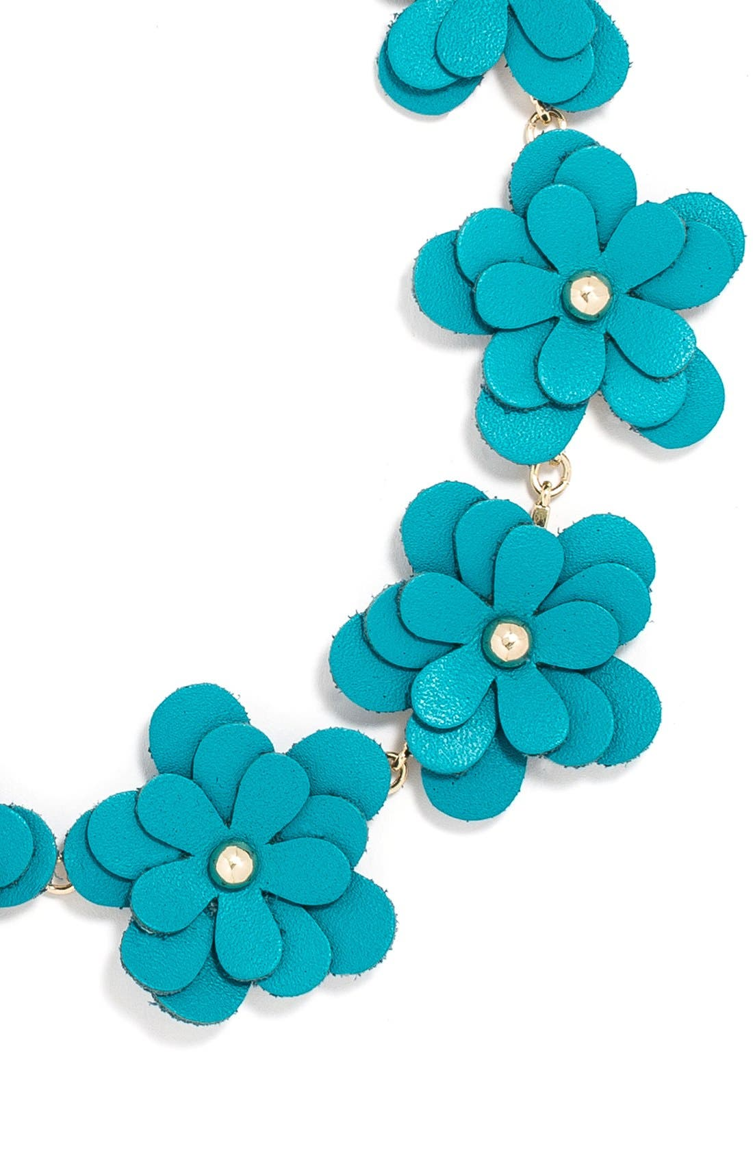 'Zoe' Leather Flower Collar Necklace,                             Alternate thumbnail 2, color,                             400