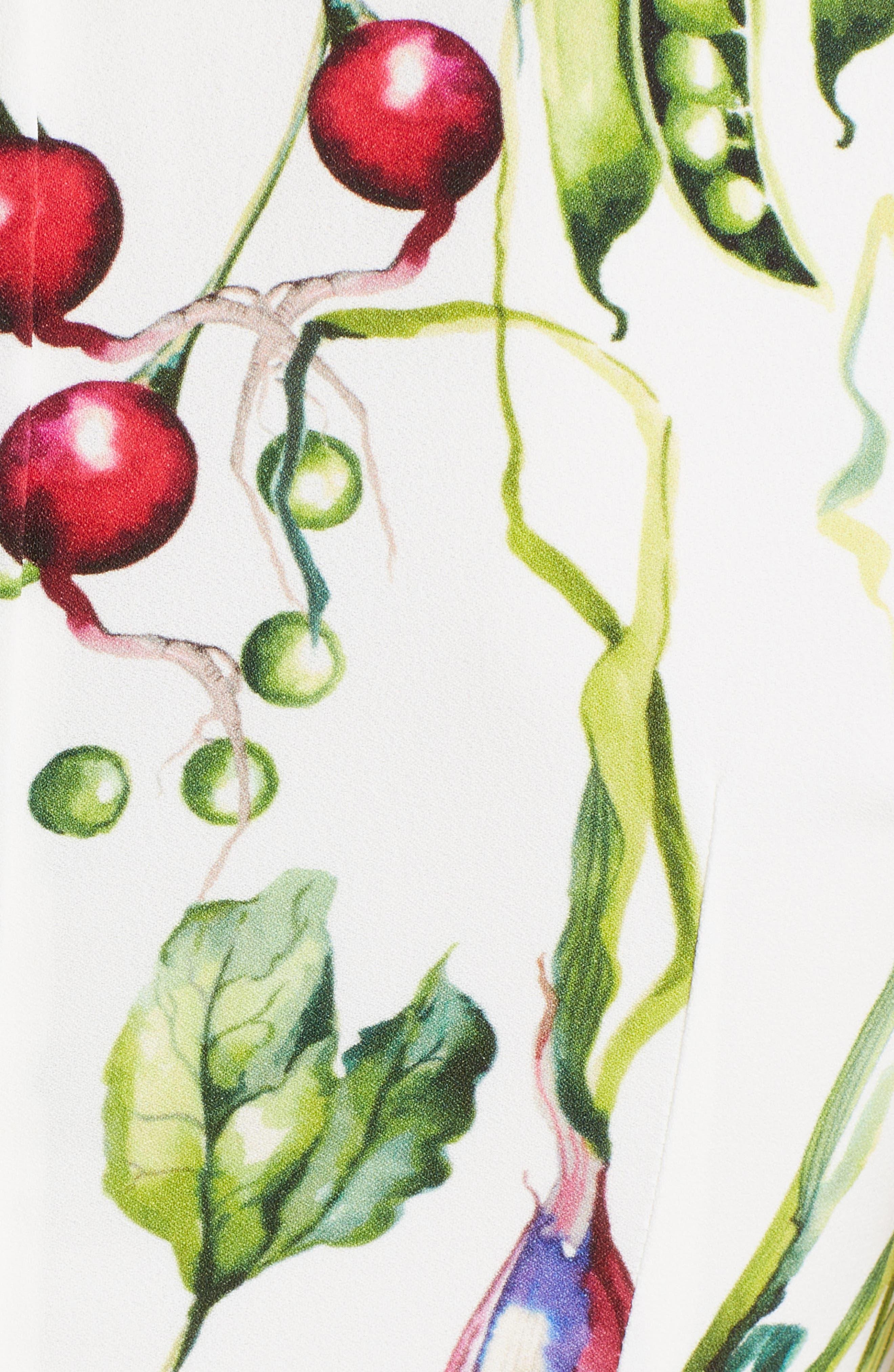 Garden Print Flare Hem Cady Dress,                             Alternate thumbnail 5, color,                             115