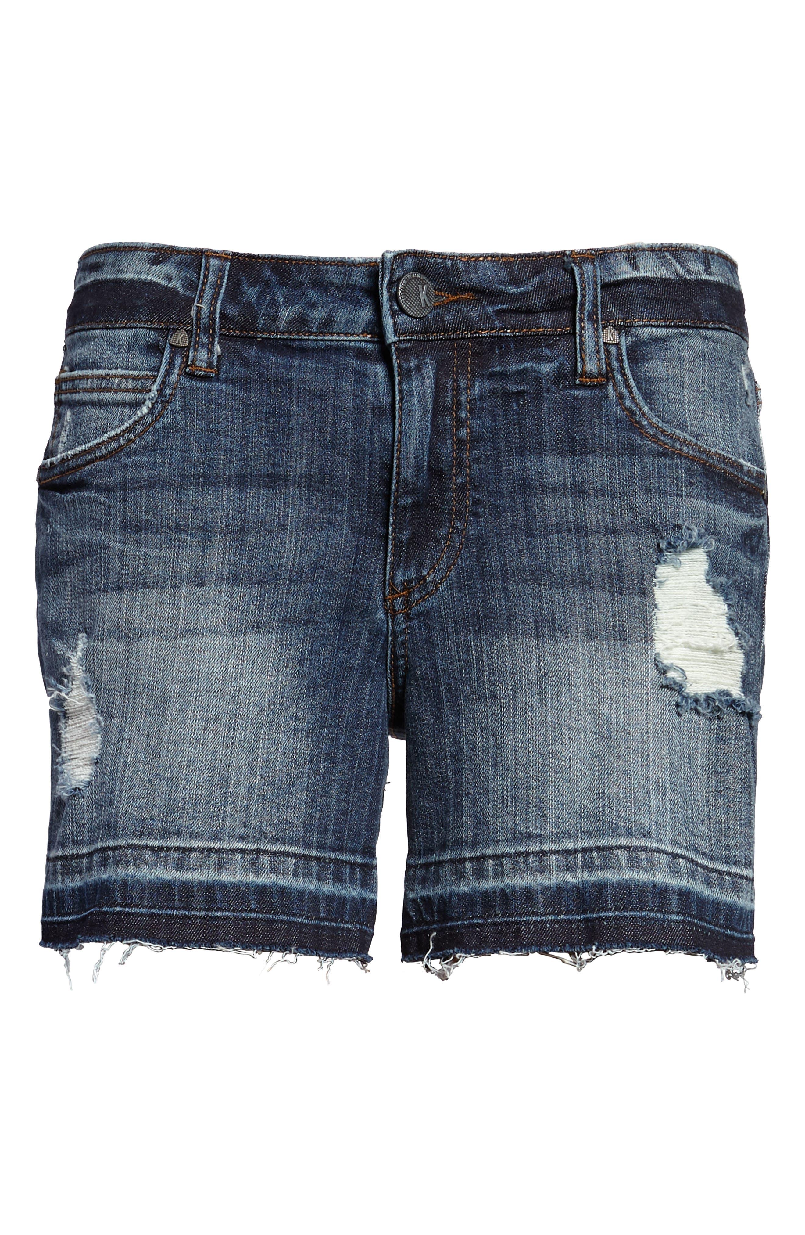 Distressed Release Hem Denim Shorts,                             Alternate thumbnail 5, color,