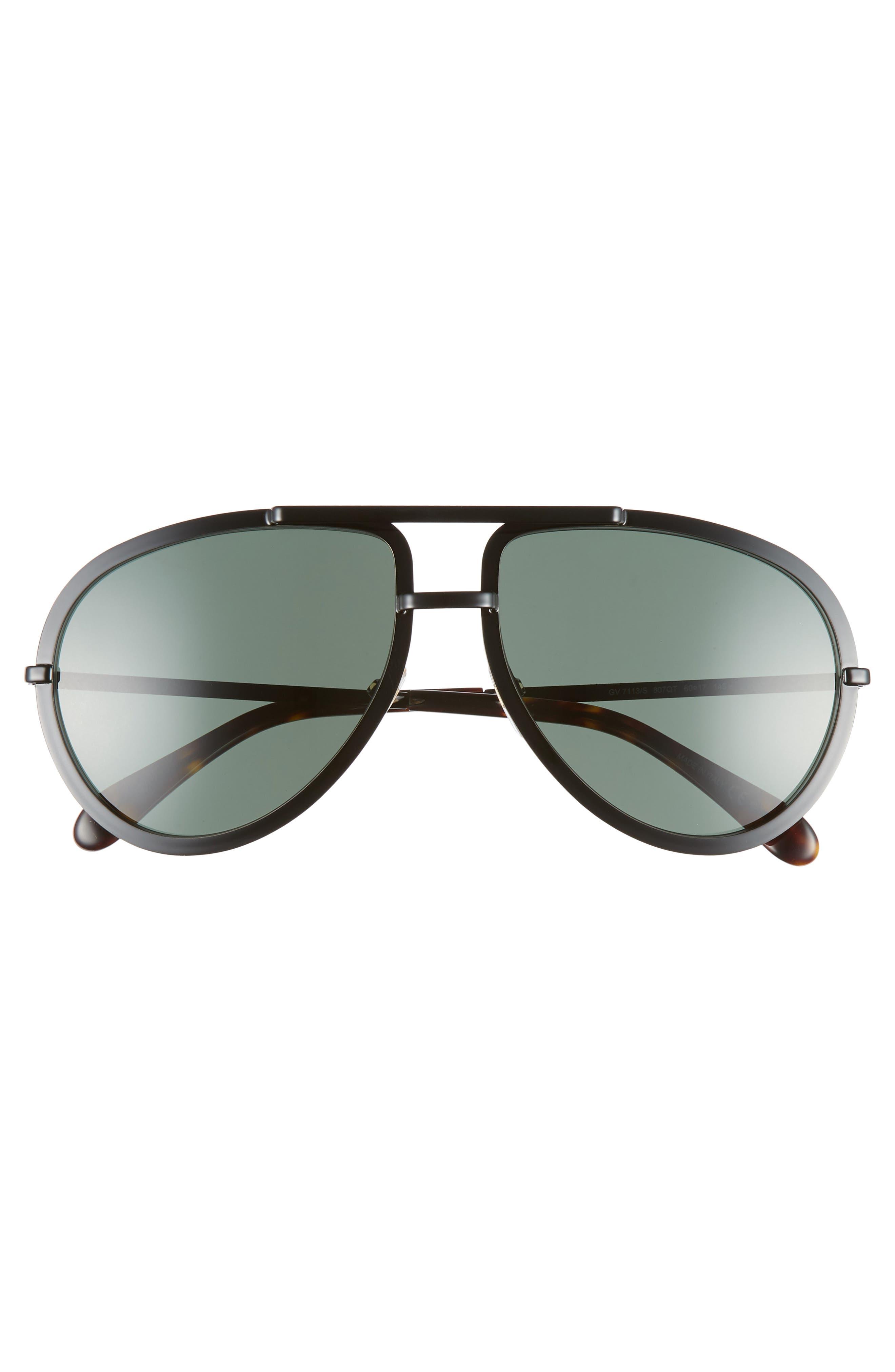 60mm Aviator Sunglasses,                             Alternate thumbnail 2, color,                             BLACK