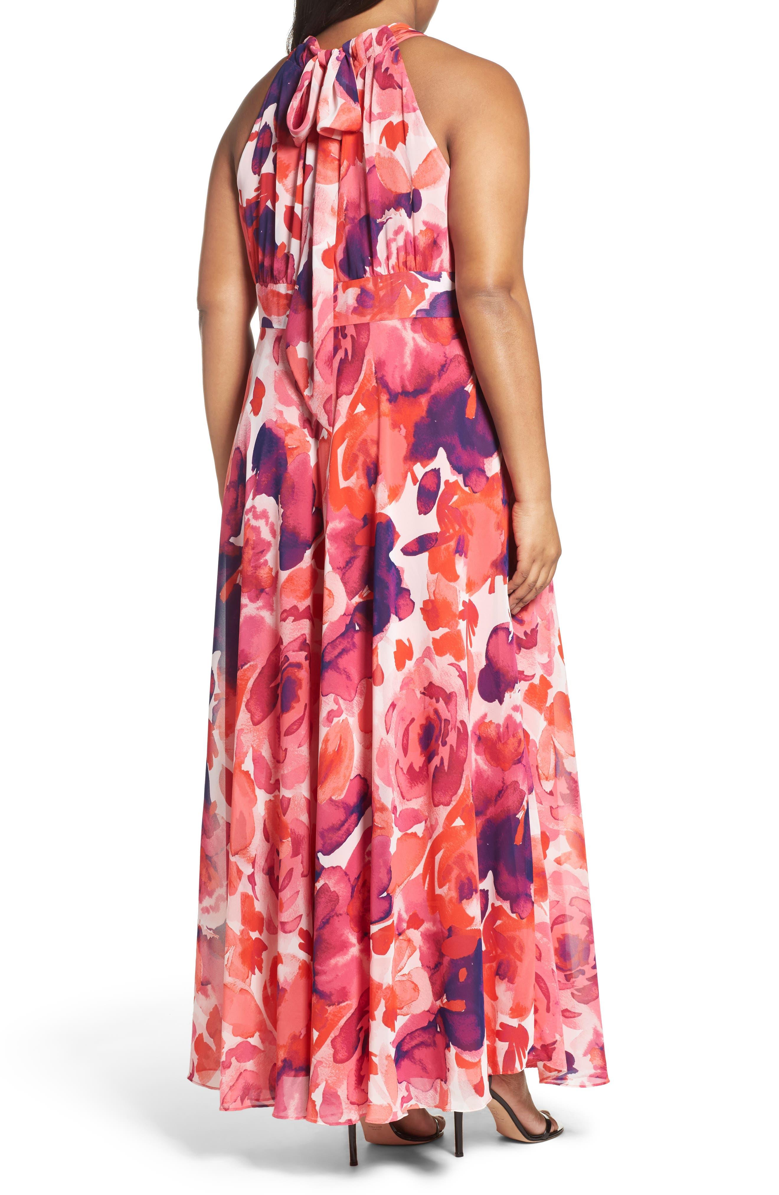 Floral Print Halter Maxi Dress,                             Alternate thumbnail 3, color,                             PINK
