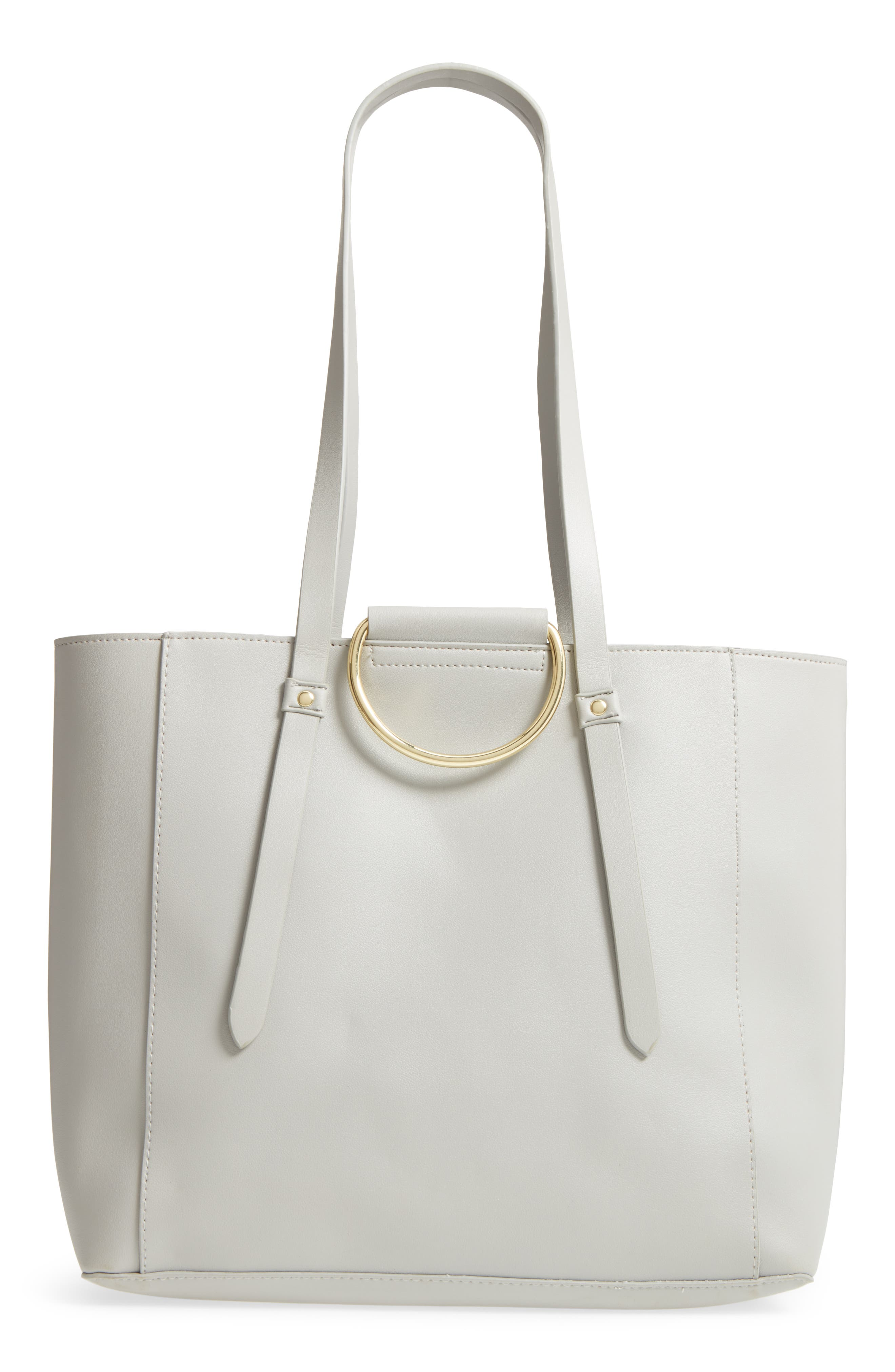 Imitation Pearl Embellished Faux Leather Ring Tote,                             Alternate thumbnail 3, color,                             020