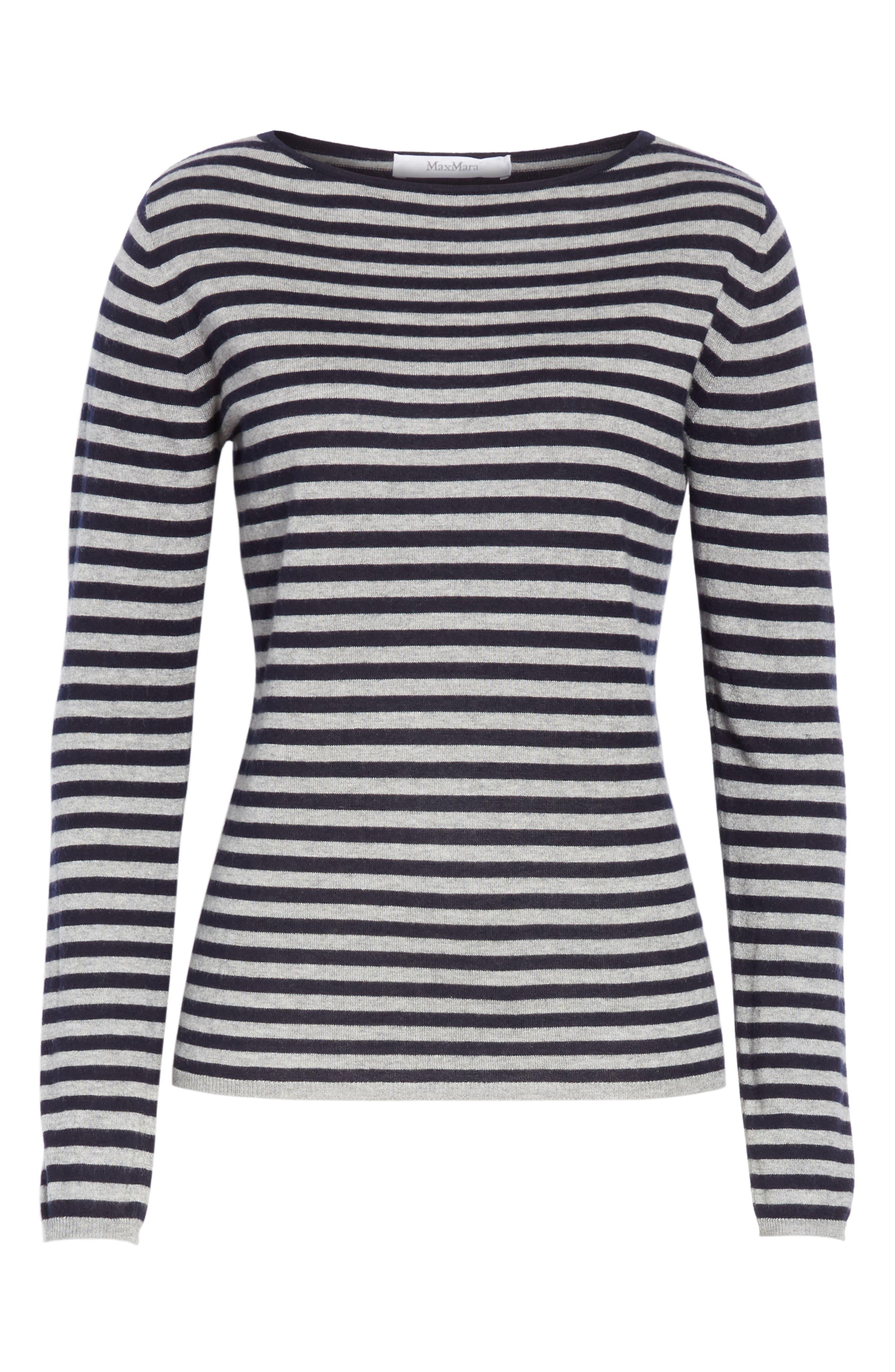 MAX MARA,                             Nardo Stripe Silk & Cashmere Sweater,                             Alternate thumbnail 6, color,                             LIGHT GREY