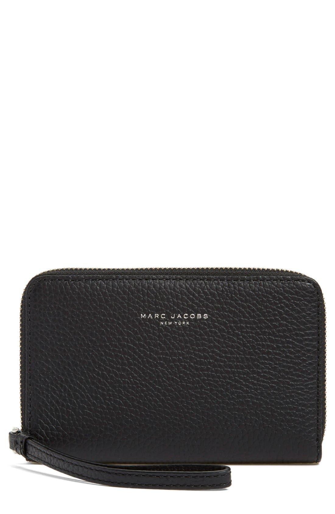 'Pike Place' Leather Zip Phone Wristlet,                             Main thumbnail 1, color,                             001