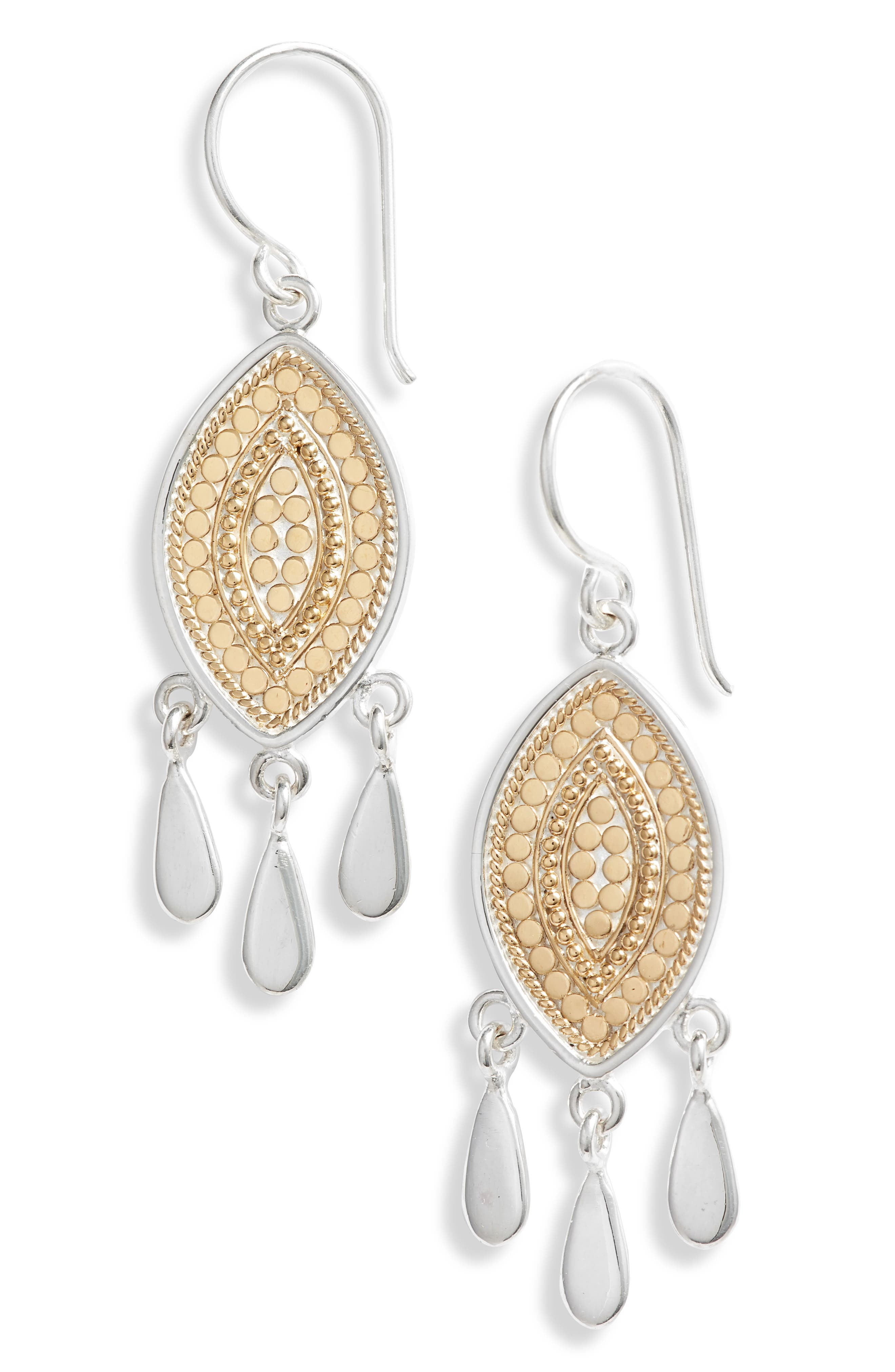 ANNA BECK Beaded Marquise Fringe Earrings in Gold/ Silver