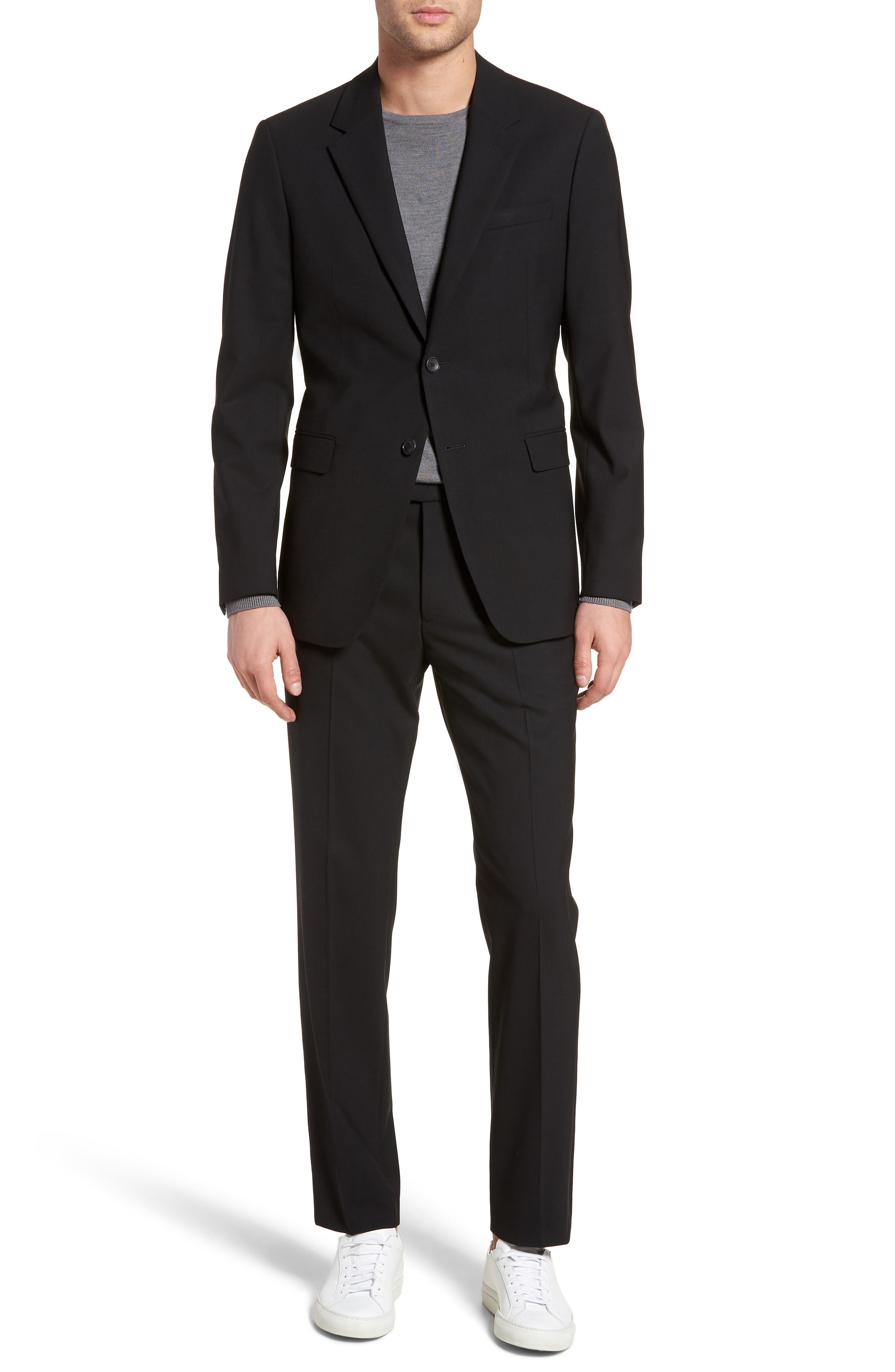 Chambers Slim Fit Stretch Wool Blazer,                             Alternate thumbnail 7, color,                             BLACK