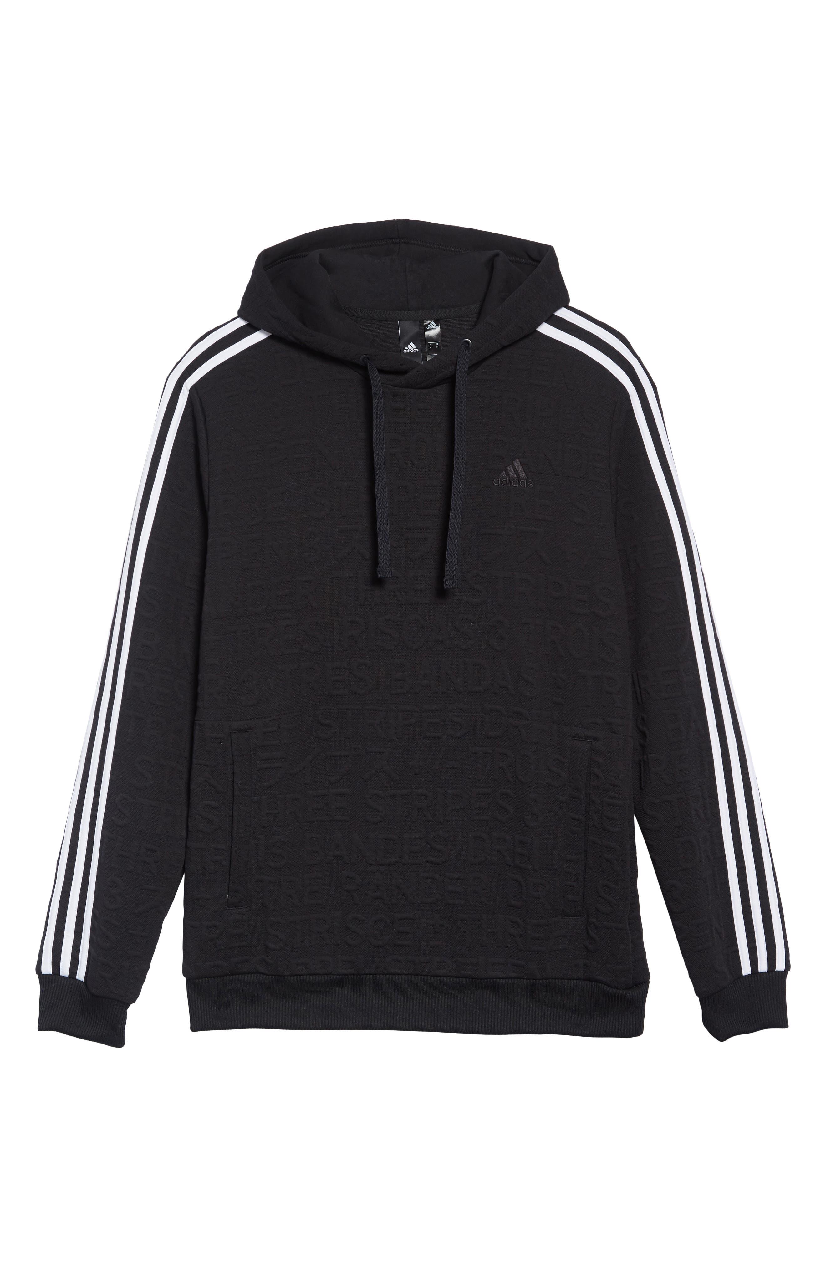 ADIDAS,                             3-Stripes Hoodie Sweatshirt,                             Alternate thumbnail 6, color,                             BLACK