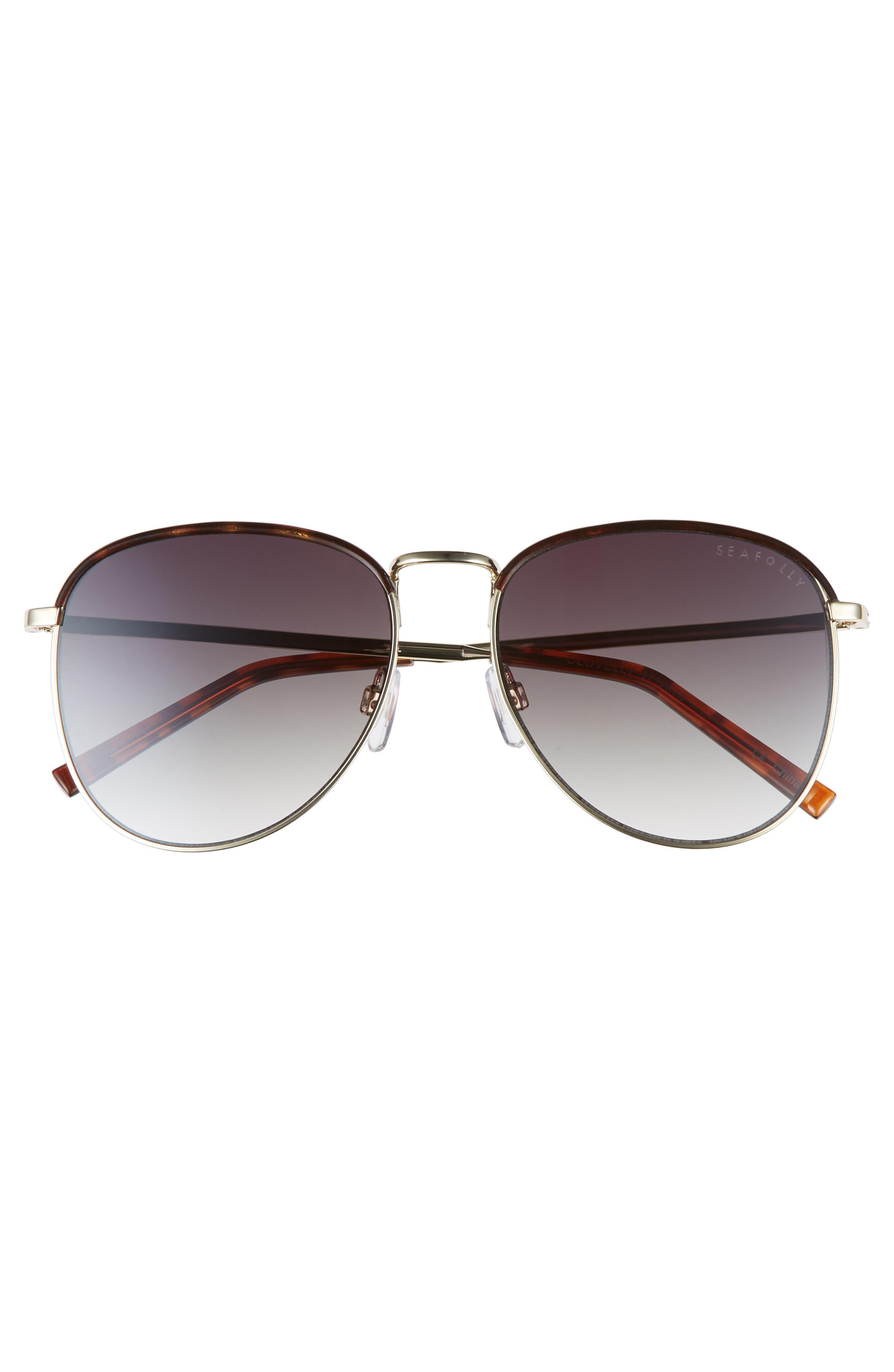 Clovelly 56mm Metal Sunglasses,                             Alternate thumbnail 3, color,                             DARK TORT