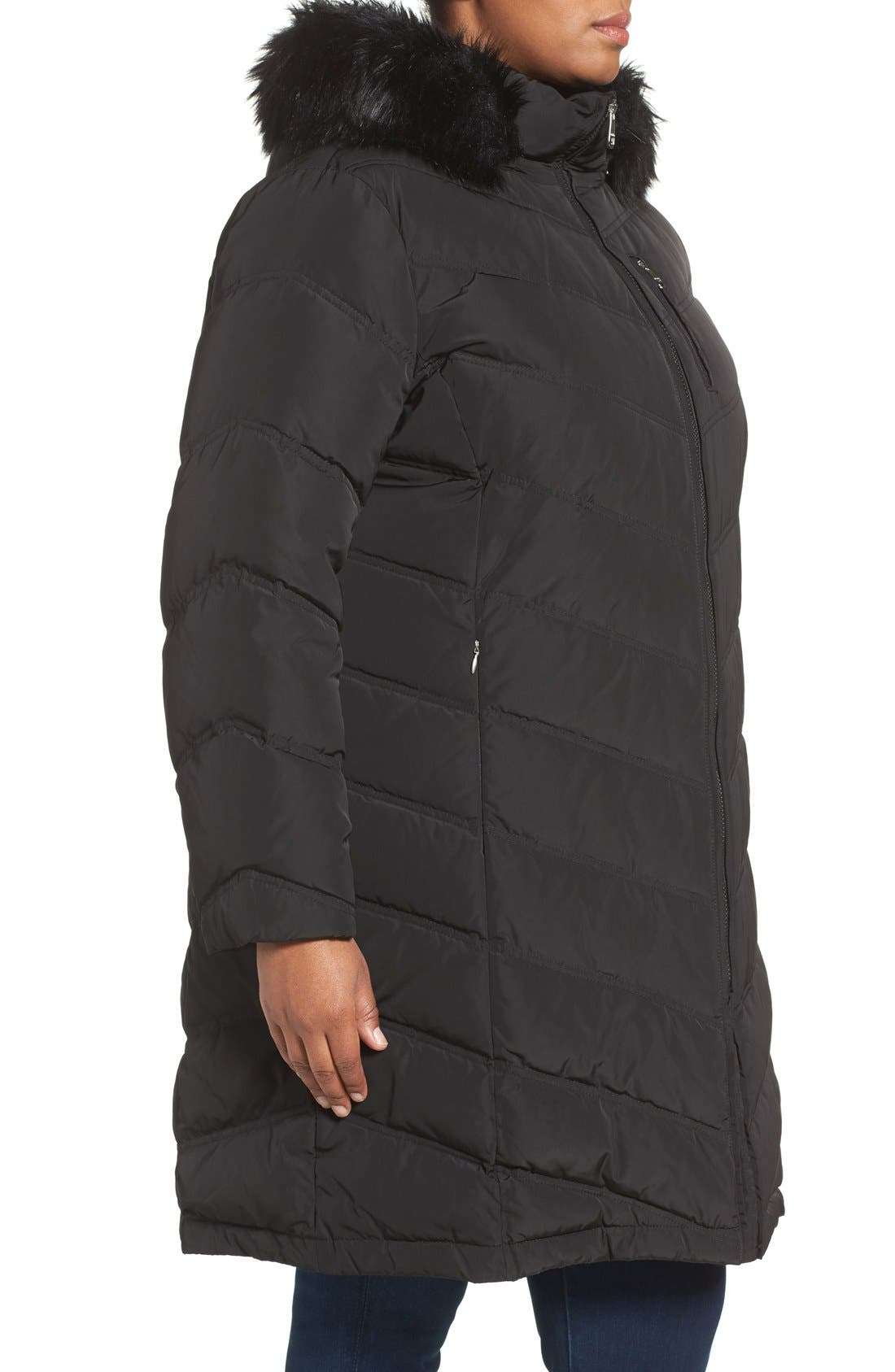 CALVIN KLEIN,                             Water Resistant Puffer Coat with Faux Fur Trim,                             Alternate thumbnail 5, color,                             001
