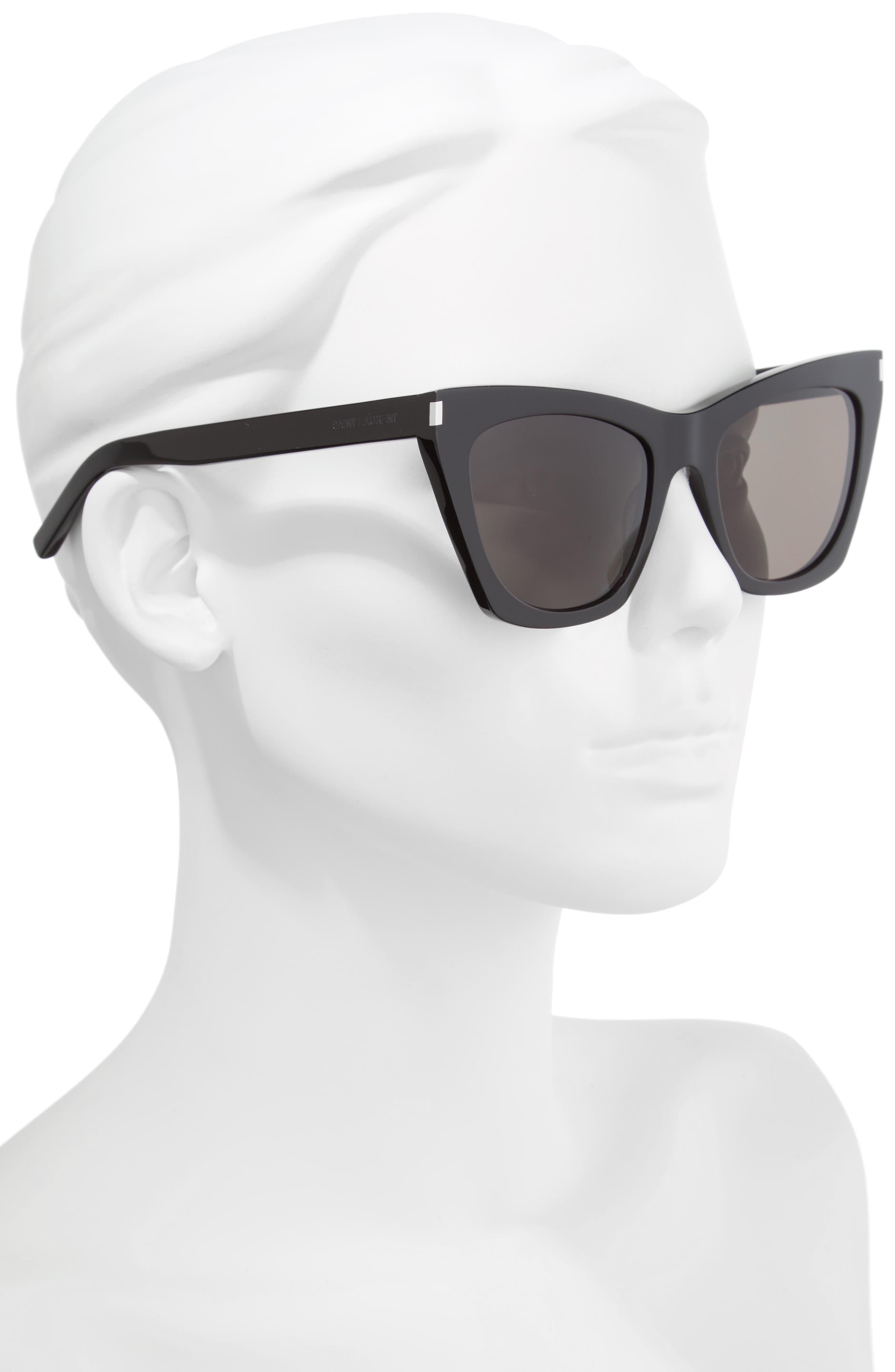 Kate 55mm Cat Eye Sunglasses,                             Alternate thumbnail 2, color,                             BLACK