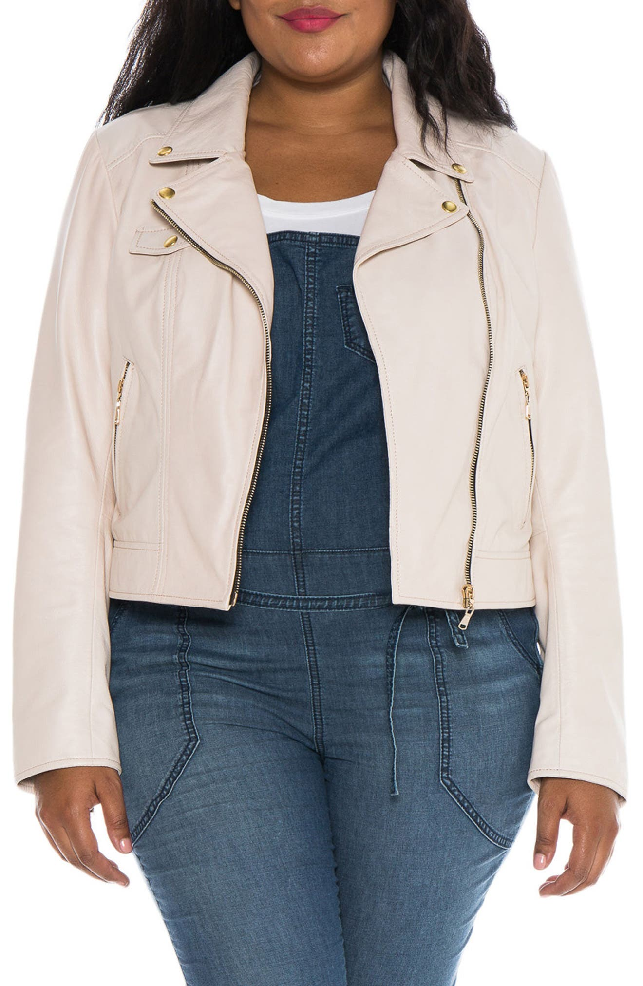 Crop Leather Moto Jacket,                             Main thumbnail 1, color,                             PINK