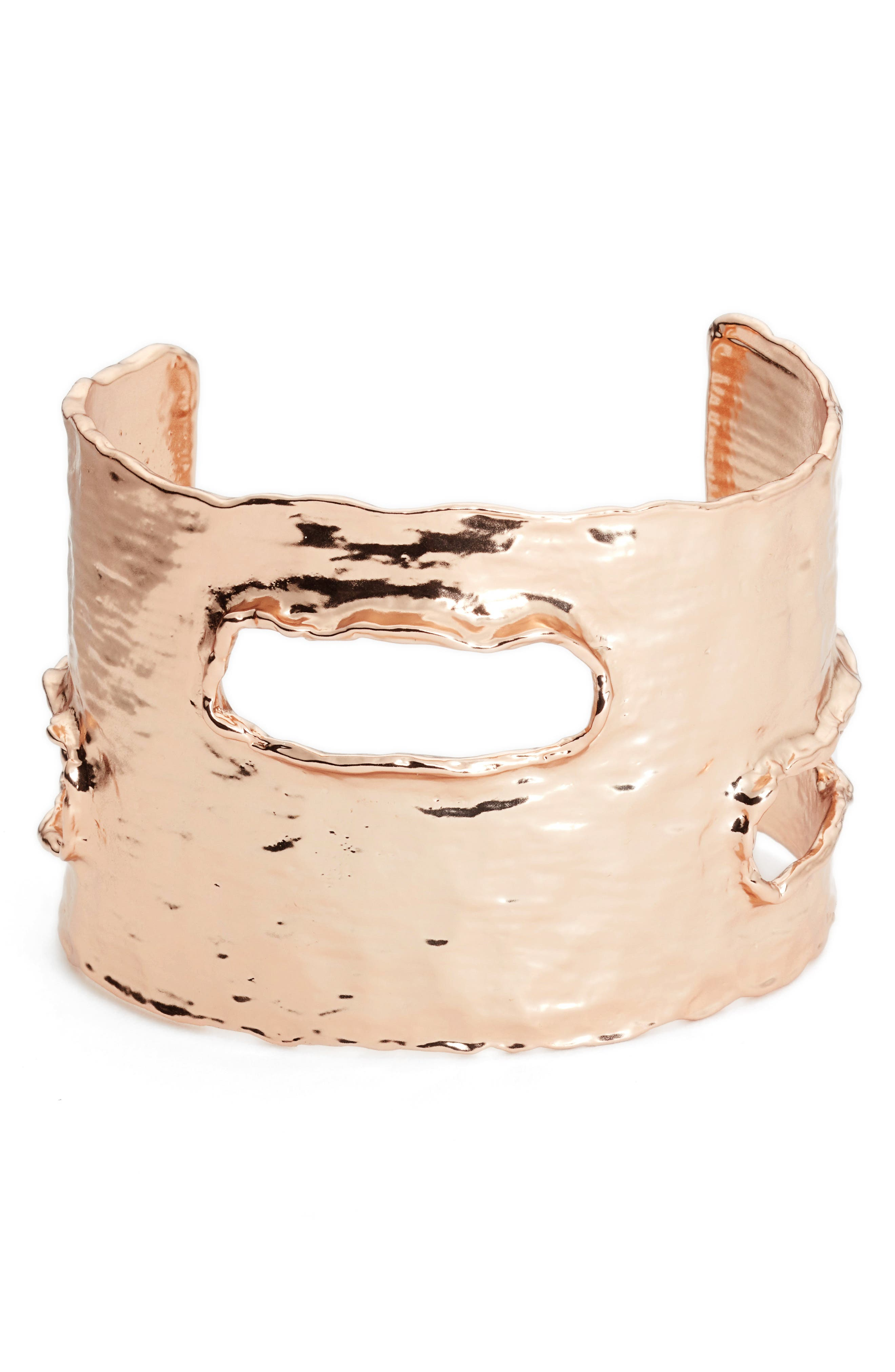 Textured Cuff,                             Main thumbnail 1, color,                             ROSE GOLD