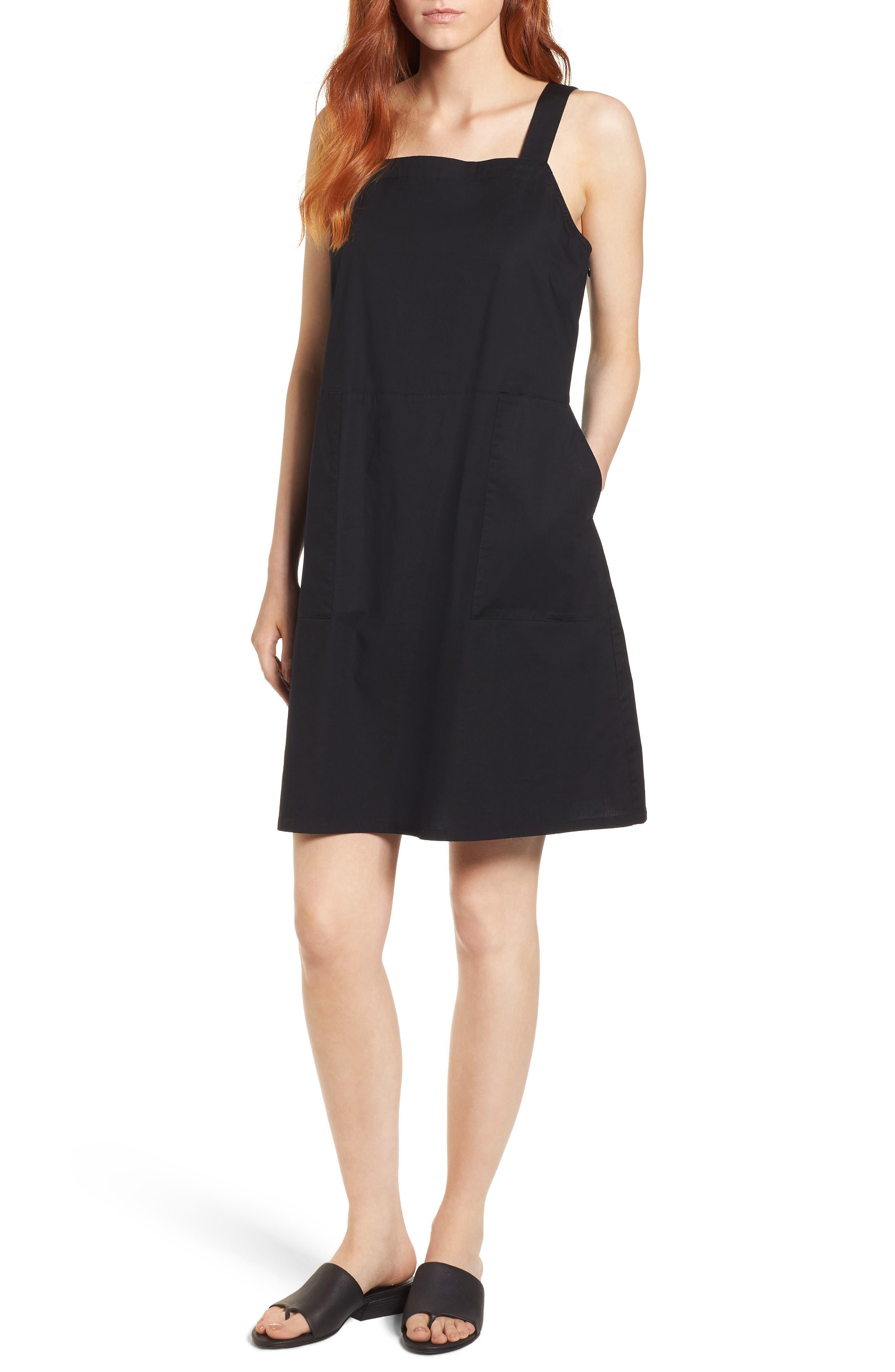 Stretch Organic Cotton Tank Dress,                             Main thumbnail 1, color,                             001