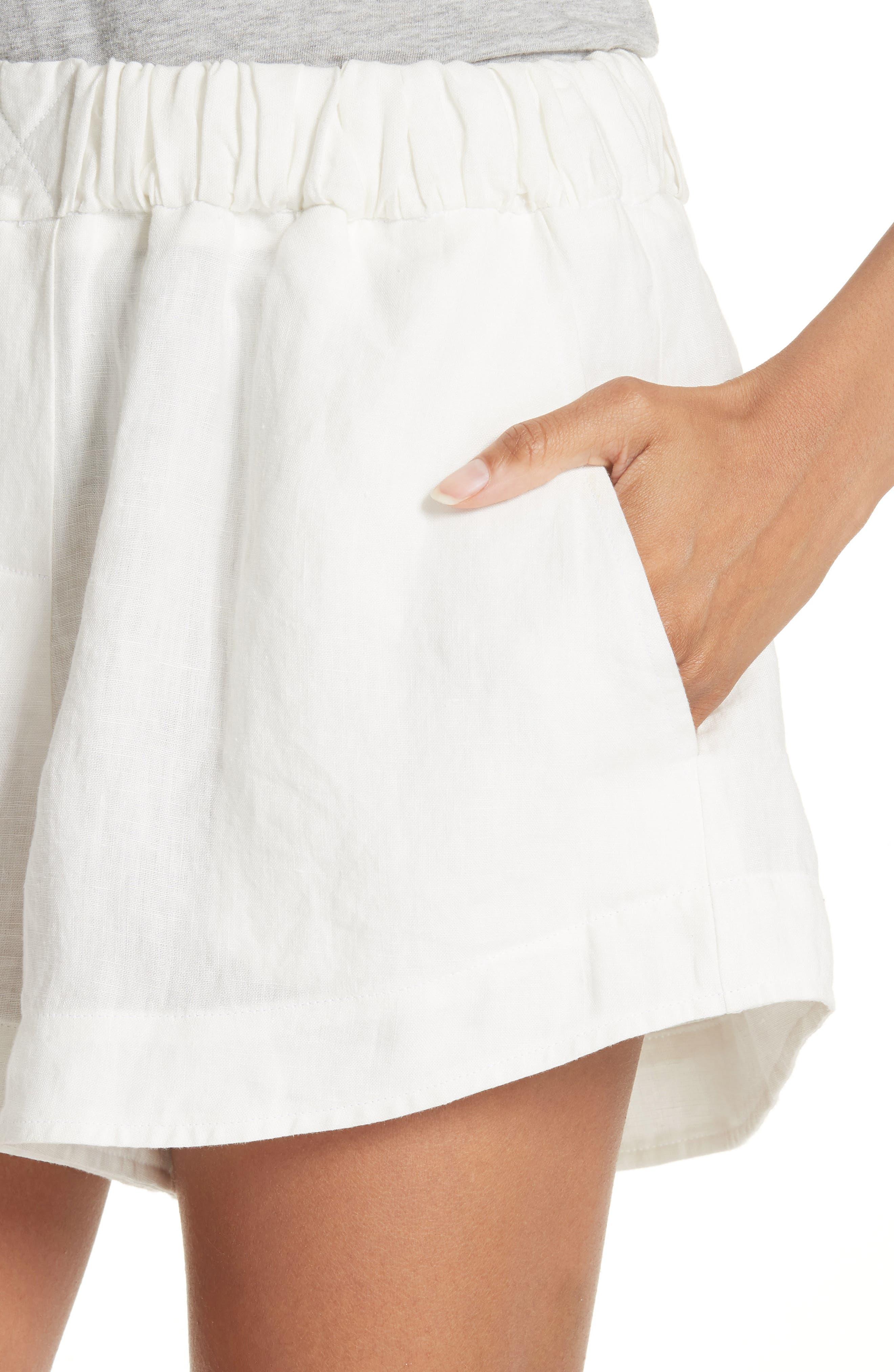Nyssa Linen Shorts,                             Alternate thumbnail 5, color,                             IVORY