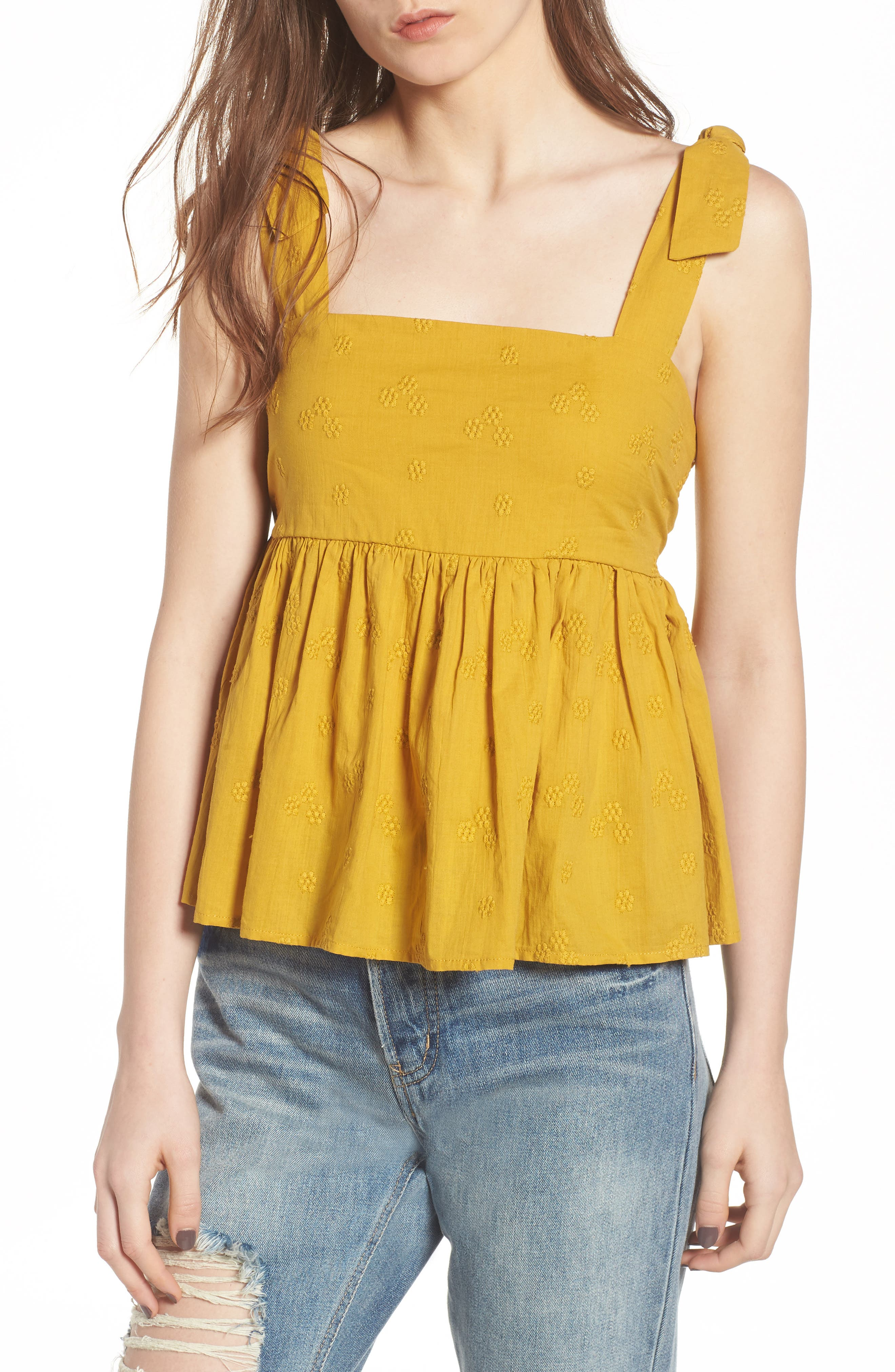 Embroidered Peplum Tank,                             Main thumbnail 2, color,