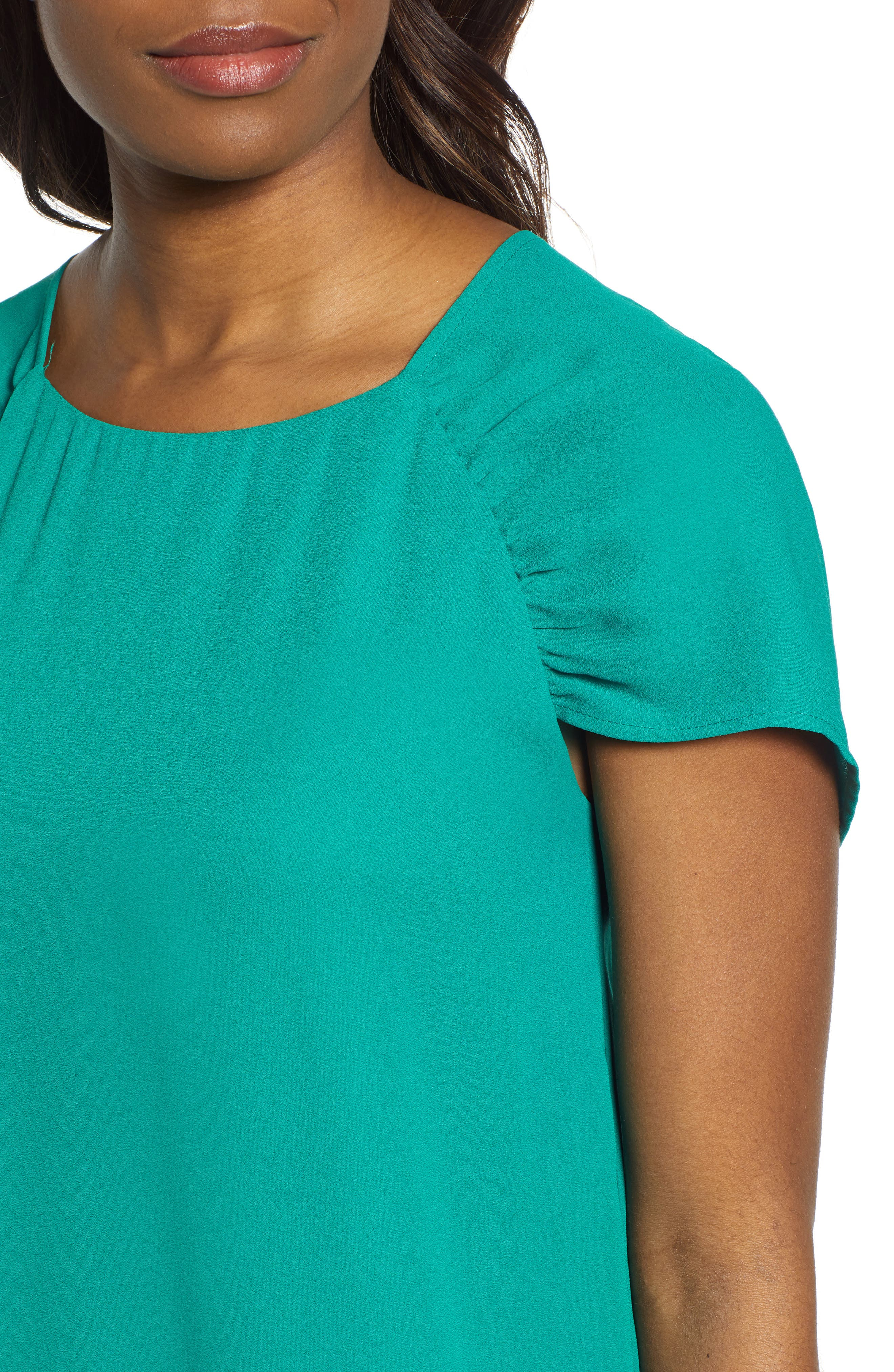 GIBSON,                             x International Women's Day Erin Ruched Sleeve Blouse,                             Alternate thumbnail 4, color,                             GREEN