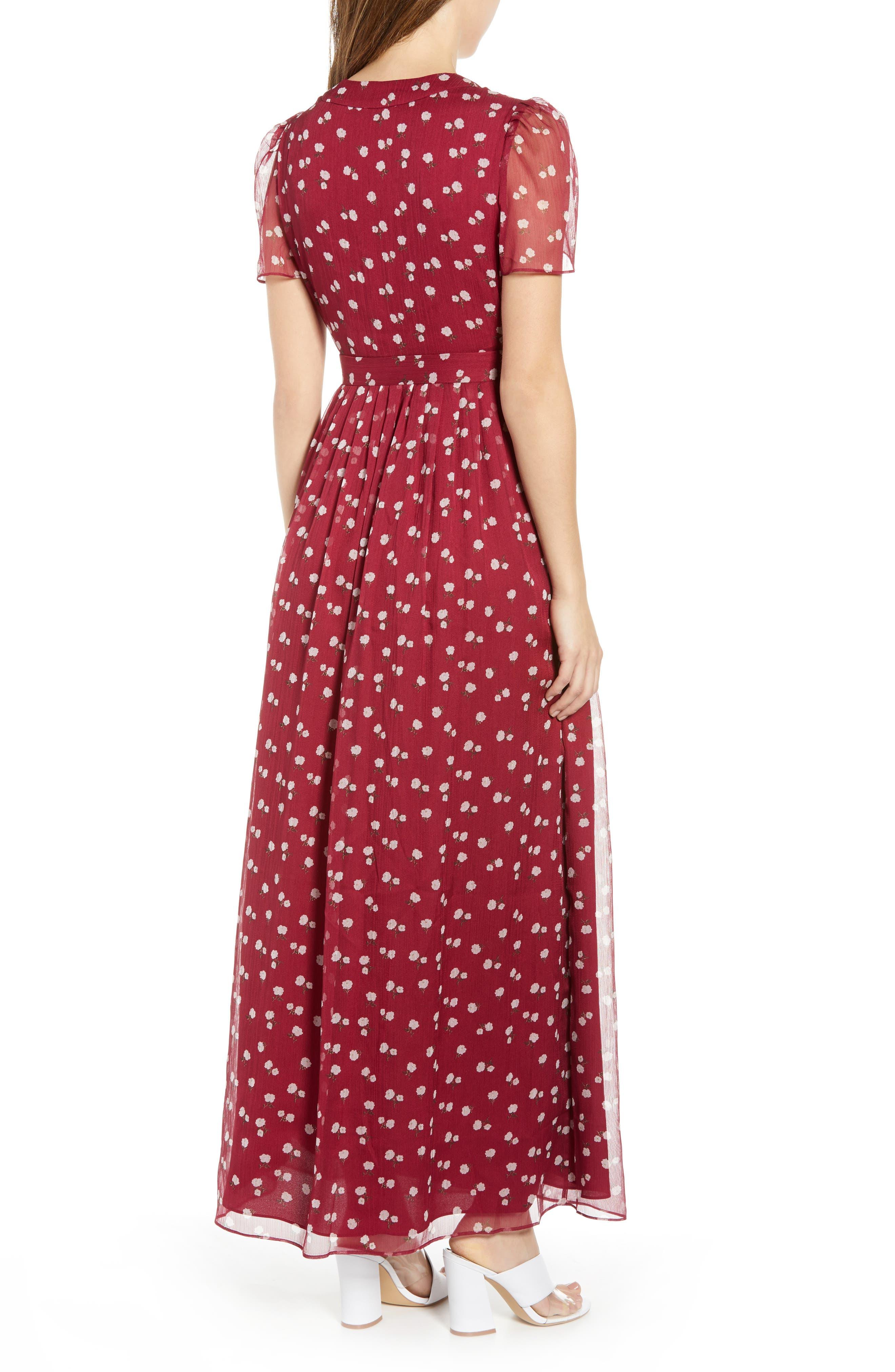 Rhoda Pleated Maxi Dress,                             Alternate thumbnail 2, color,                             BERRY MINI ROSES