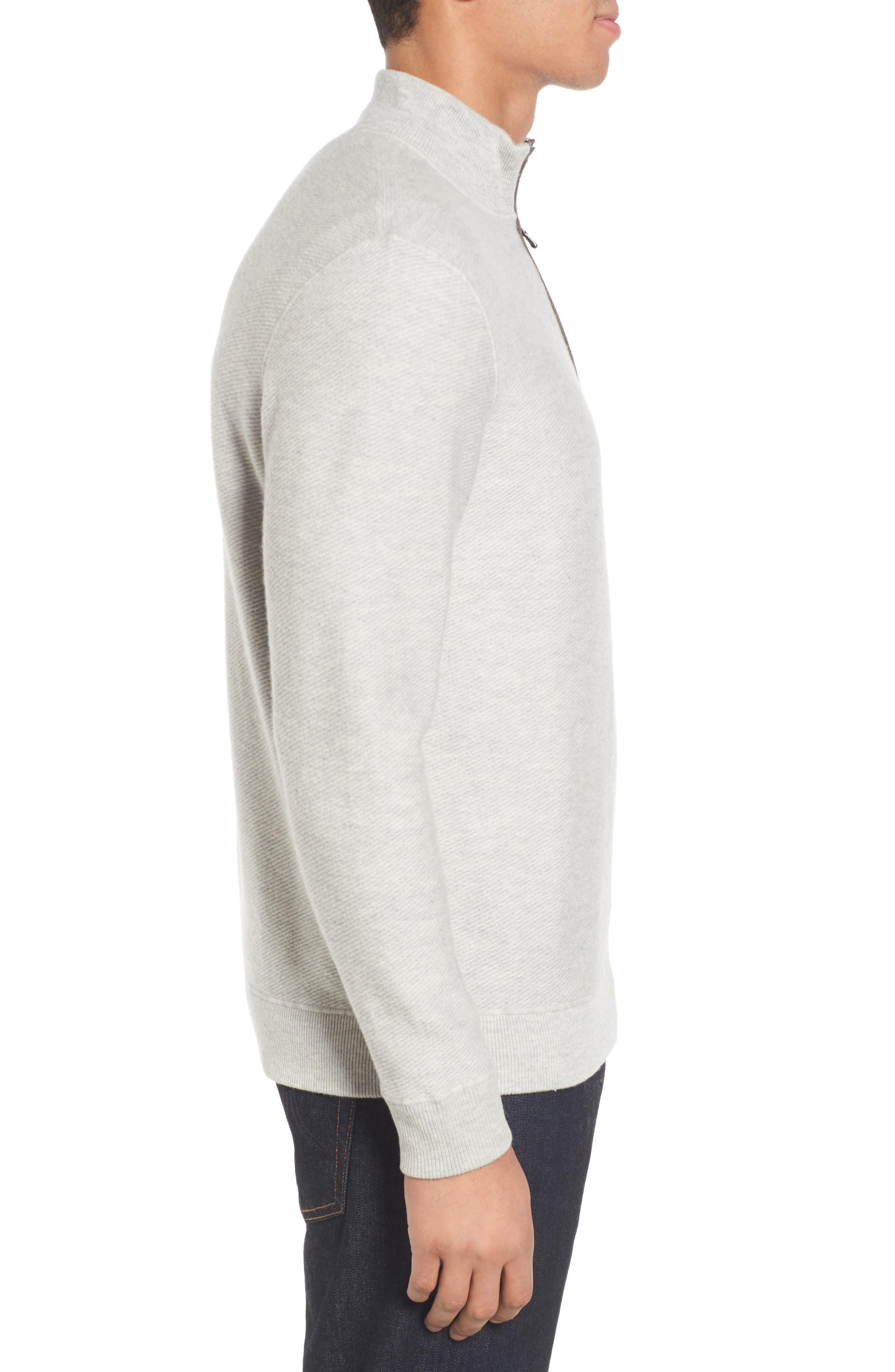 Merino Wool Twill Stitch Quarter Zip Sweater,                             Alternate thumbnail 3, color,                             039