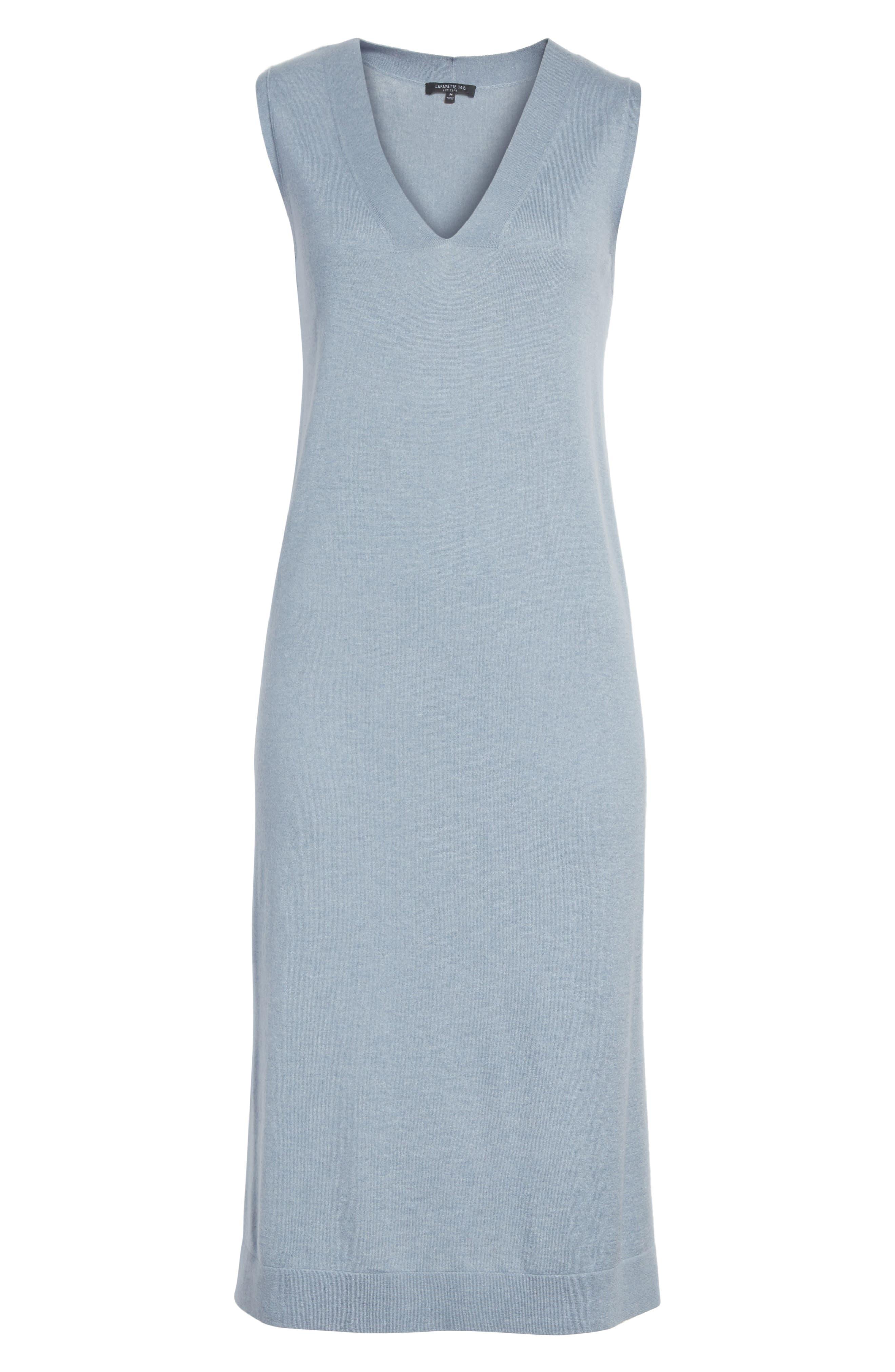 V-Neck Cashmere & Silk Knit Dress,                             Alternate thumbnail 6, color,                             411