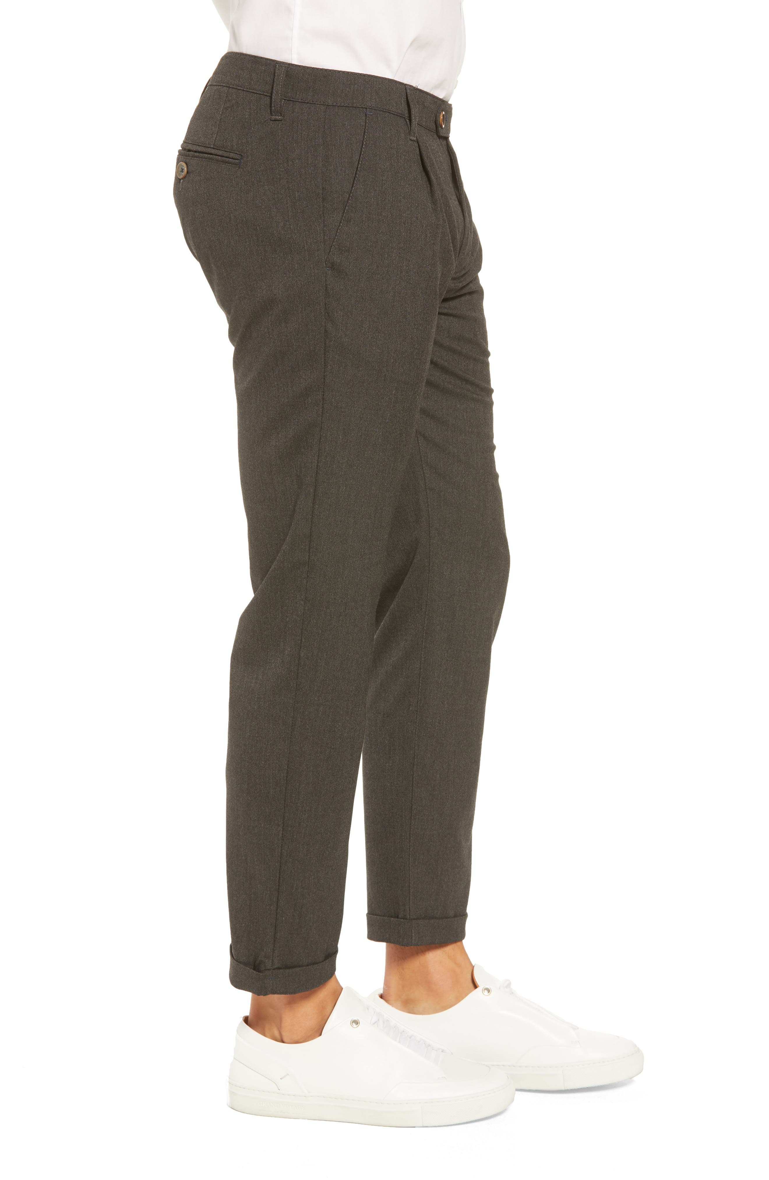 TED BAKER LONDON,                             Champi Pleated Cropped Pants,                             Alternate thumbnail 3, color,                             001