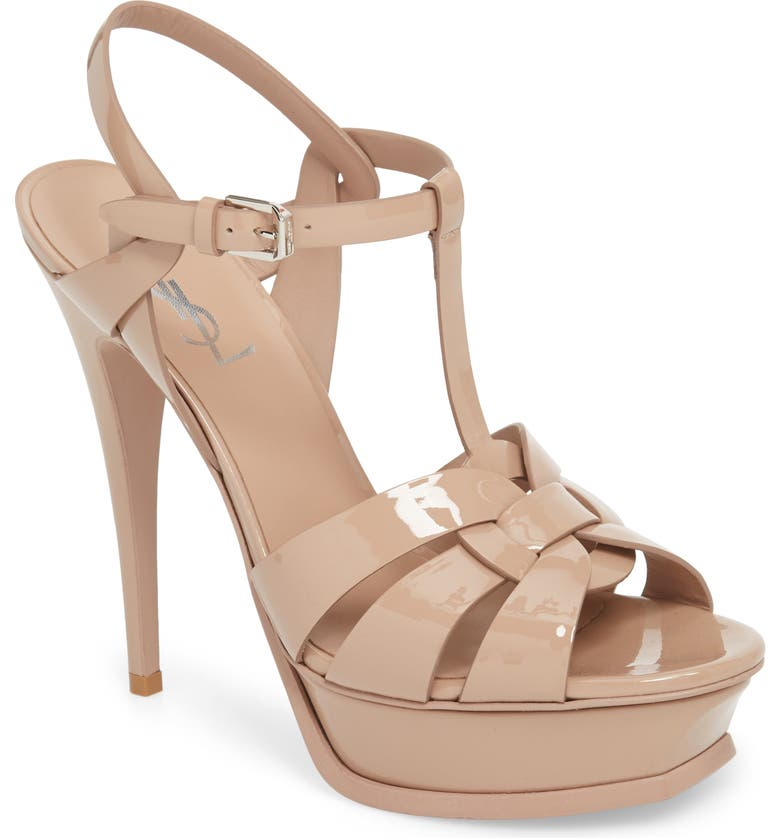 556f5b059dff3 Saint Laurent Tribute 105 Sandals In Dark Powder Patent Leather In Darker  Nude