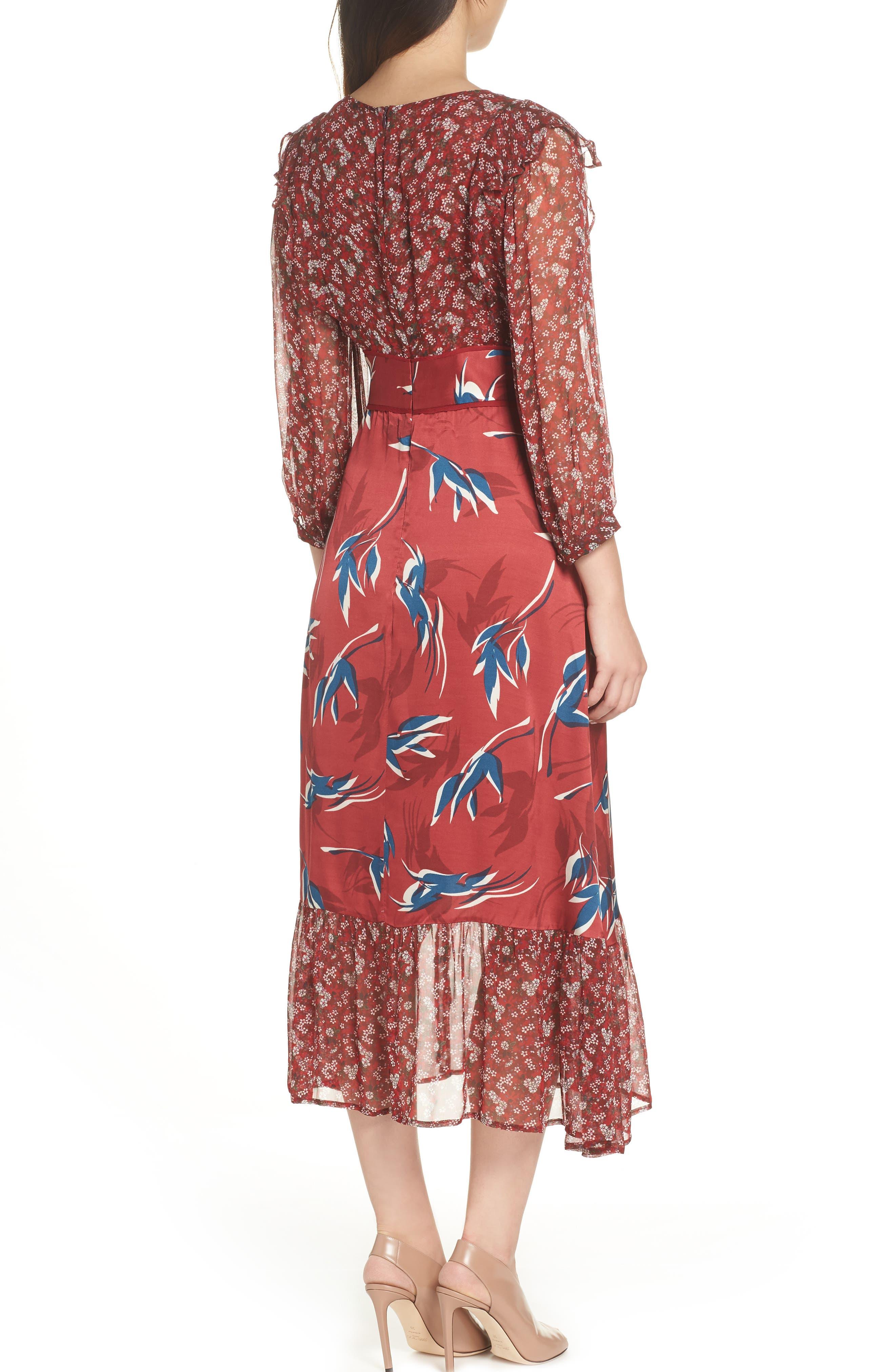 Mixed Print Midi Dress,                             Alternate thumbnail 2, color,                             RED MULTI