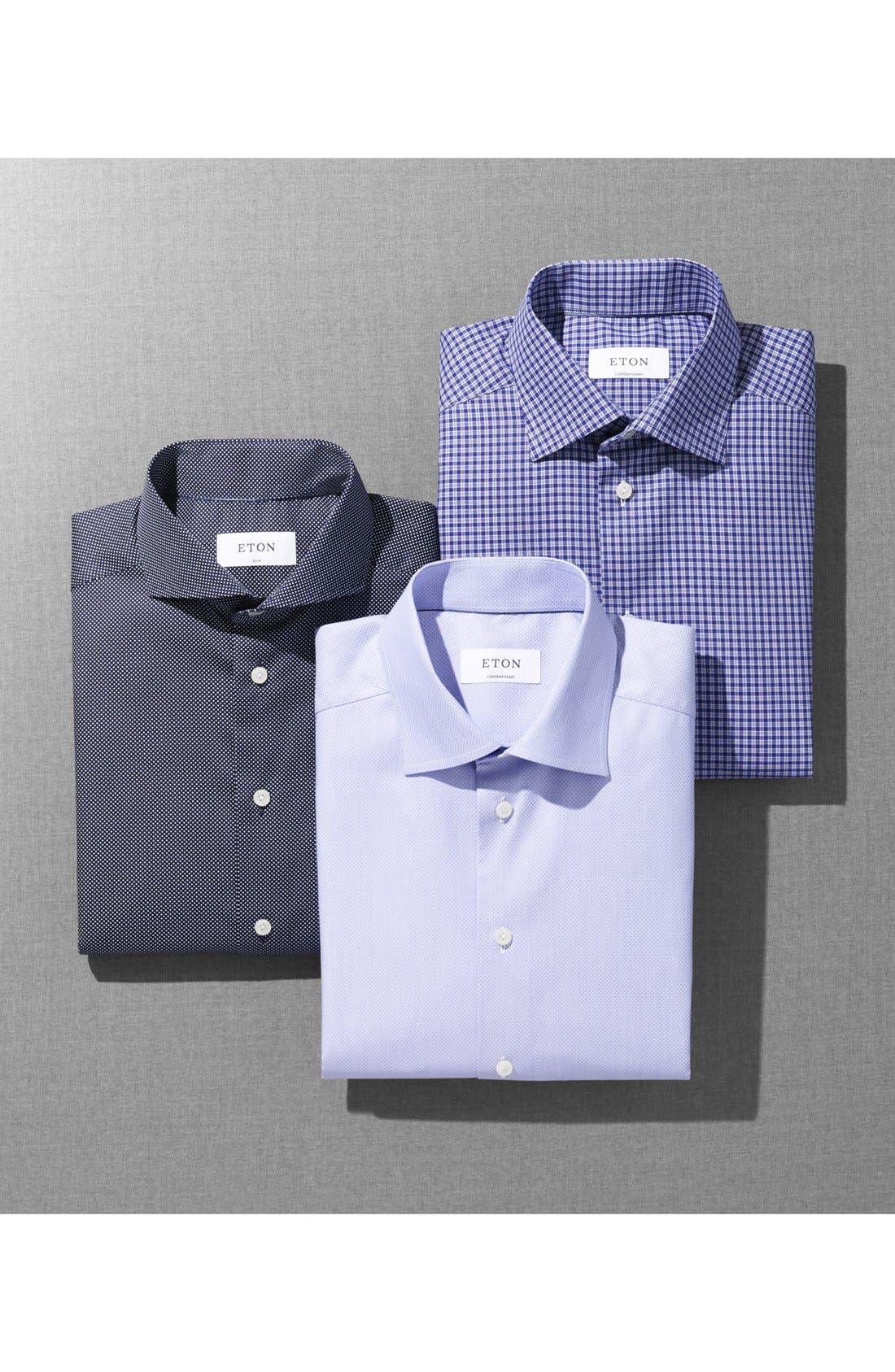 Slim Fit Dot Dress Shirt,                             Alternate thumbnail 5, color,                             BLUE