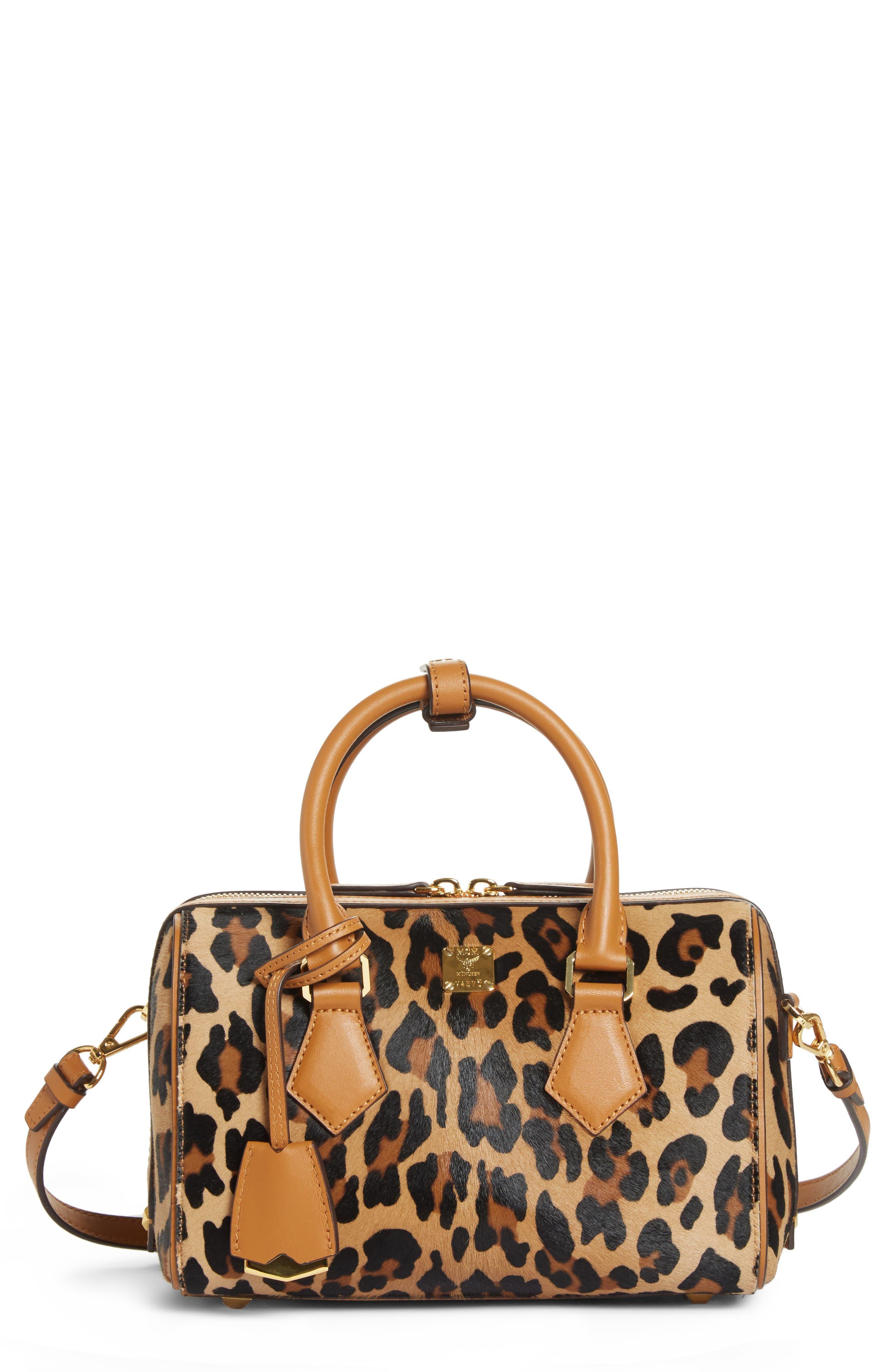 MCM,                             Small Boston Leopard Calf Hair Bowler Bag,                             Alternate thumbnail 4, color,                             LEOPARD