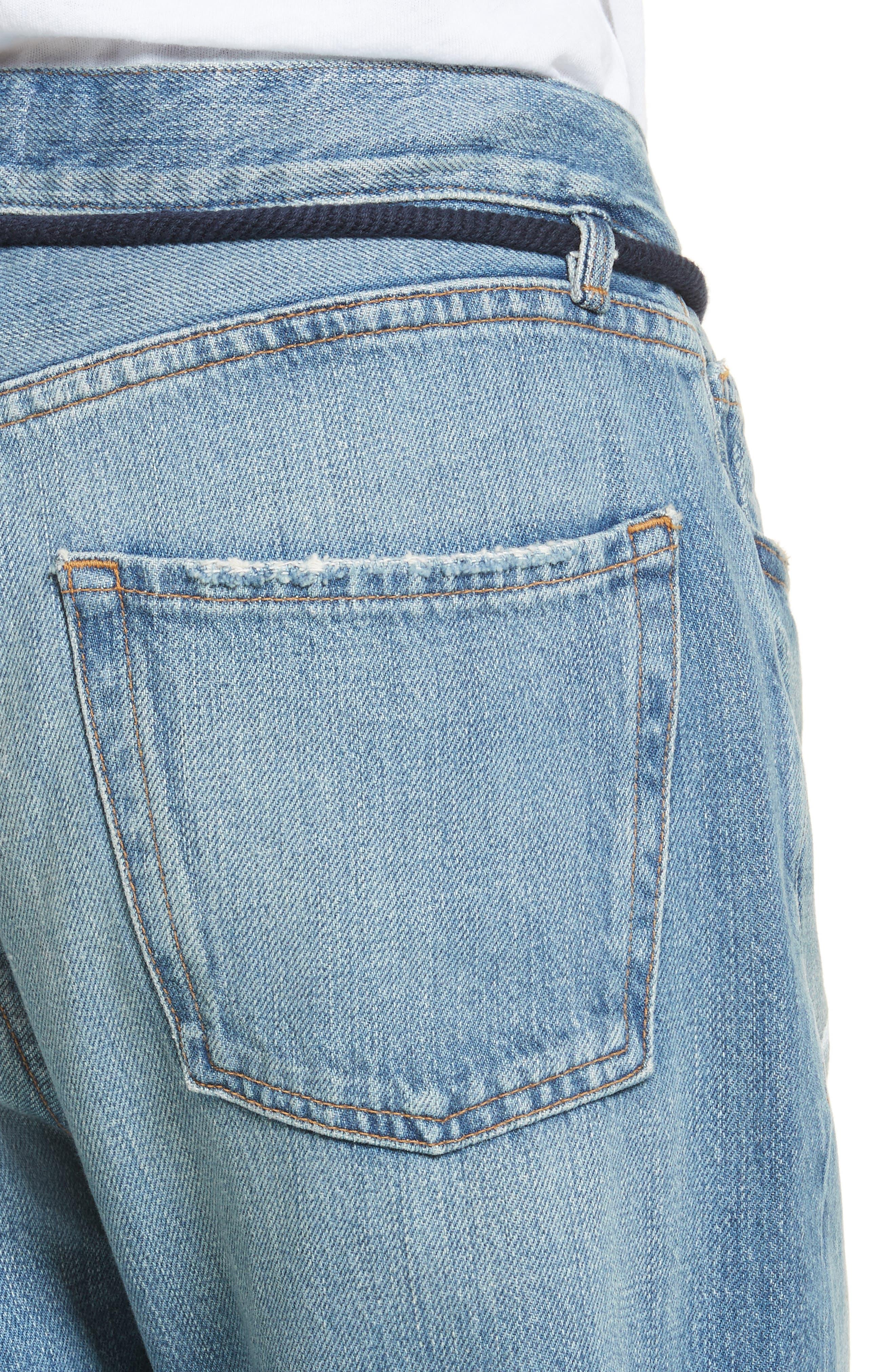 Le Original Tassel Tie High Waist Jeans,                             Alternate thumbnail 4, color,
