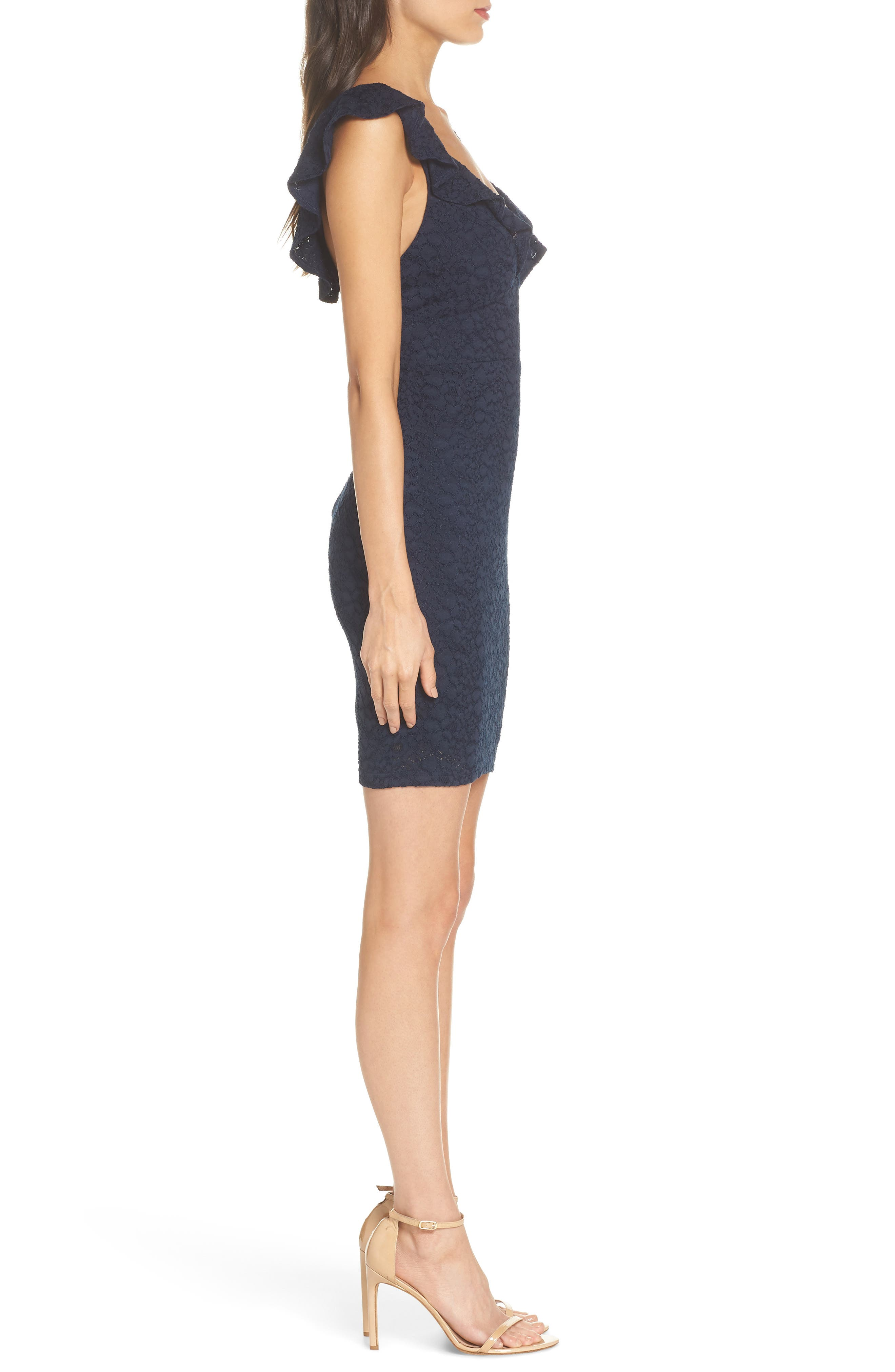 Ruffle Neck Lace Minidress,                             Alternate thumbnail 3, color,                             NAVY