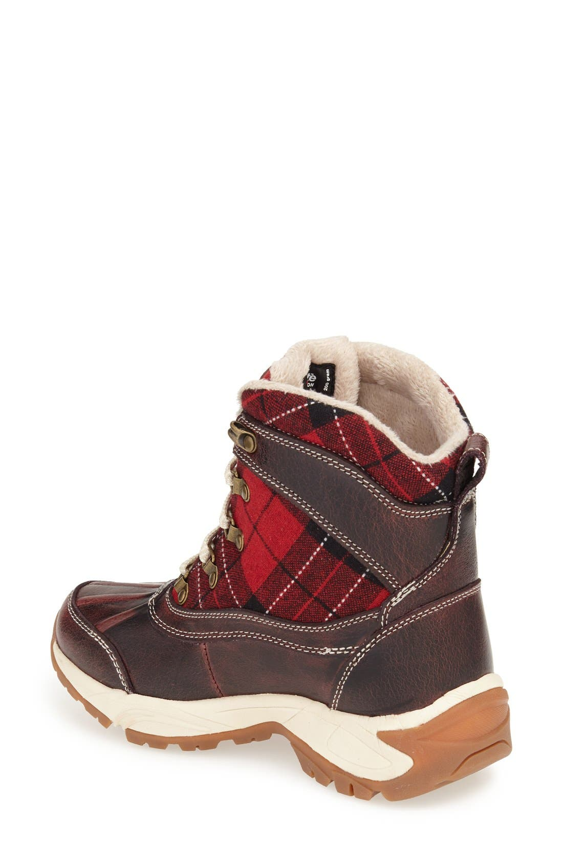 Rochelle Waterproof Insulated Winter Boot,                             Alternate thumbnail 2, color,                             RED PLAID LEATHER