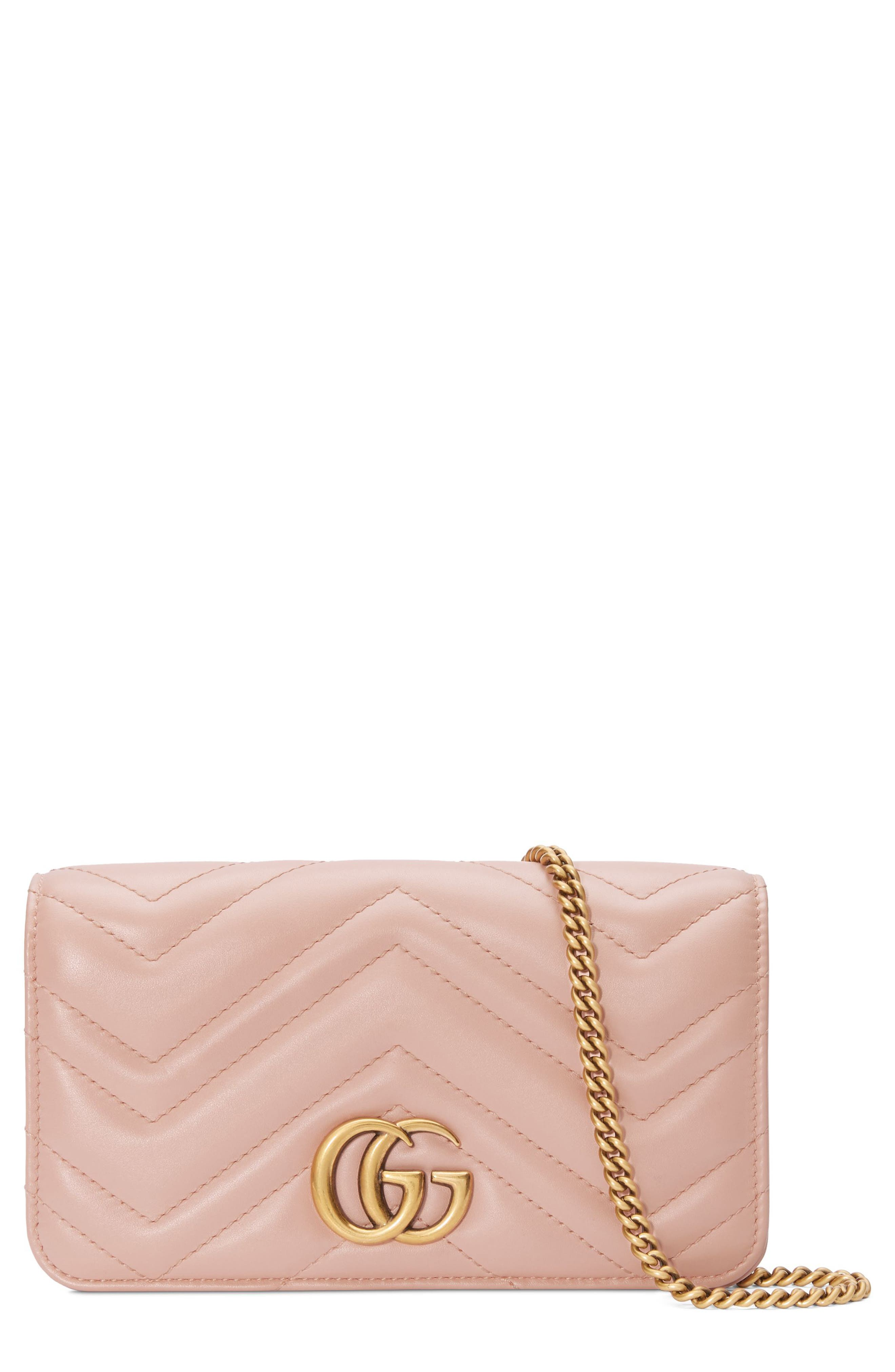 Marmont 2.0 Leather Shoulder Bag,                         Main,                         color, PERFECT PINK