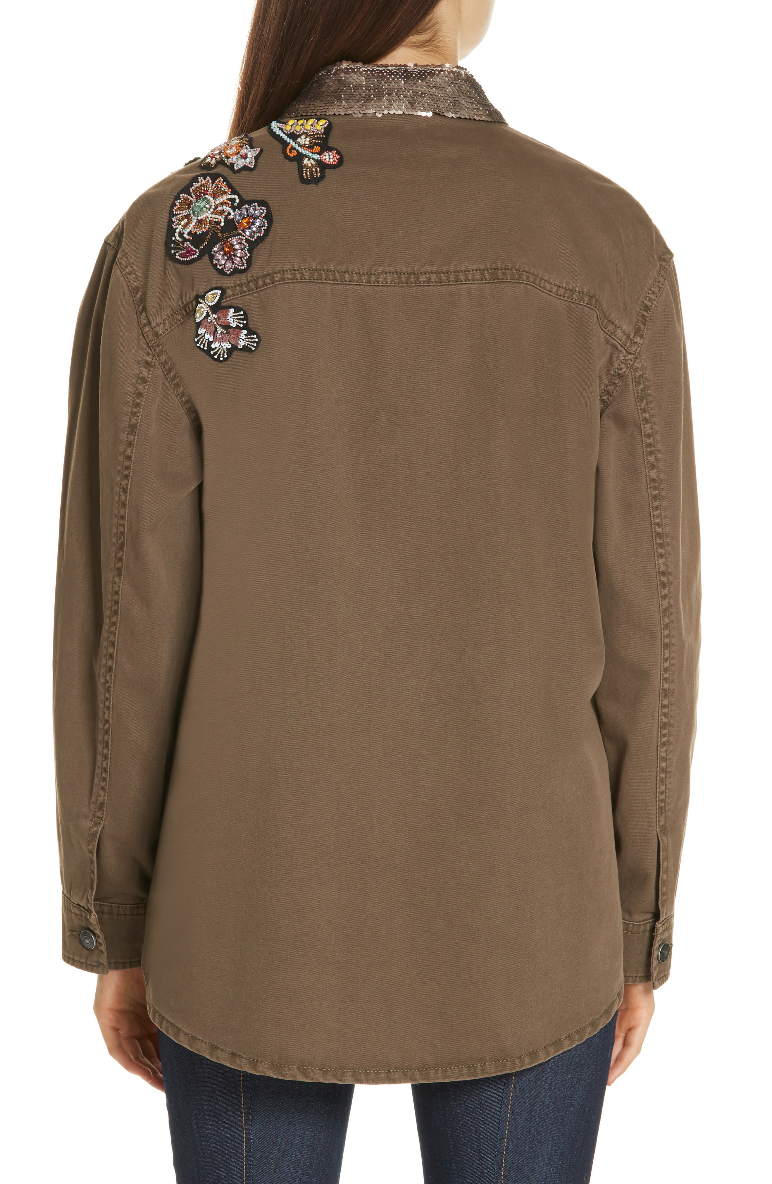 Canyon Sequin Patch Jacket,                             Alternate thumbnail 2, color,                             OLIVE