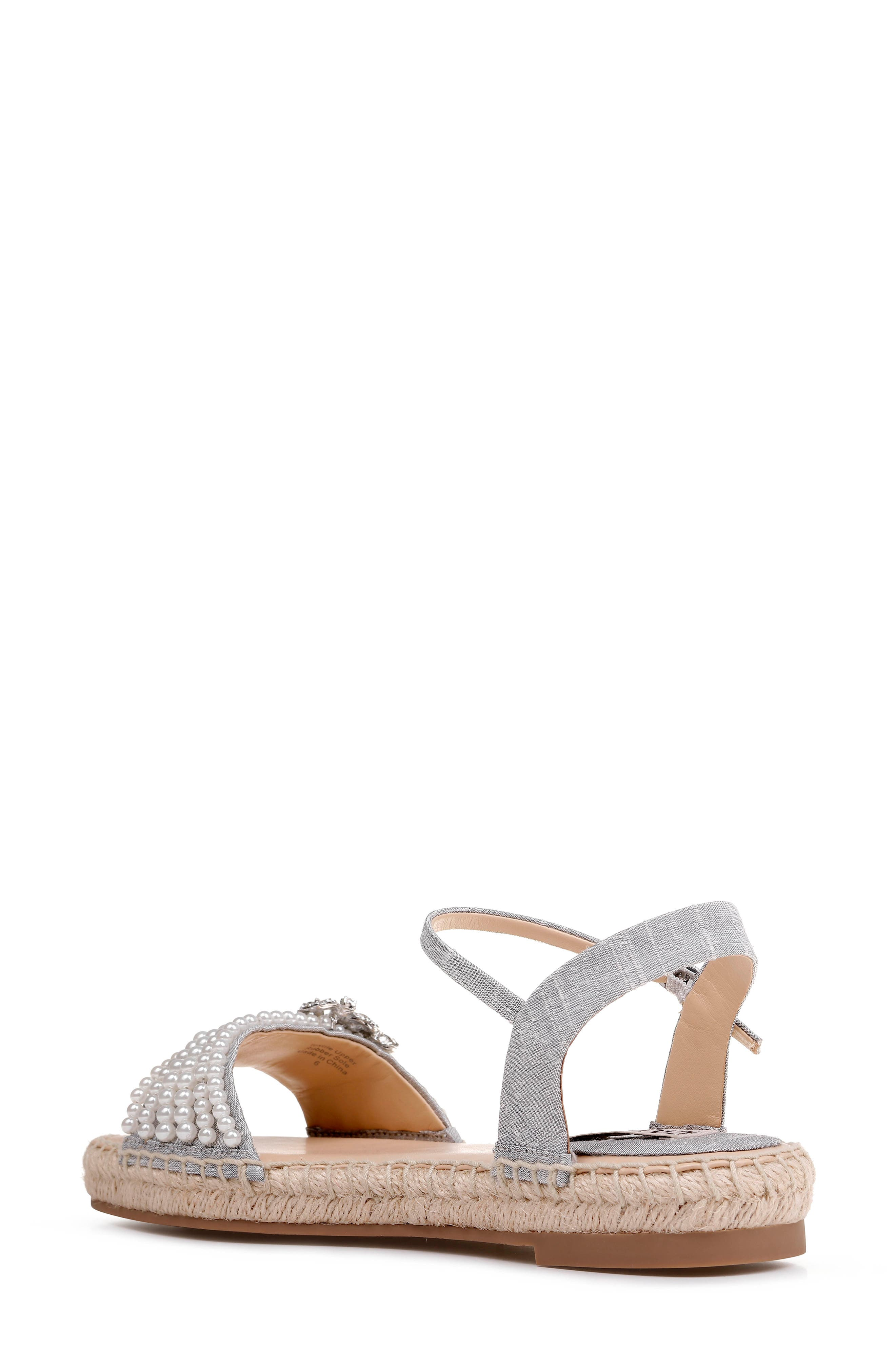 Badgley Mischka Leandra Espadrille Sandal,                             Alternate thumbnail 2, color,                             SILVER FABRIC