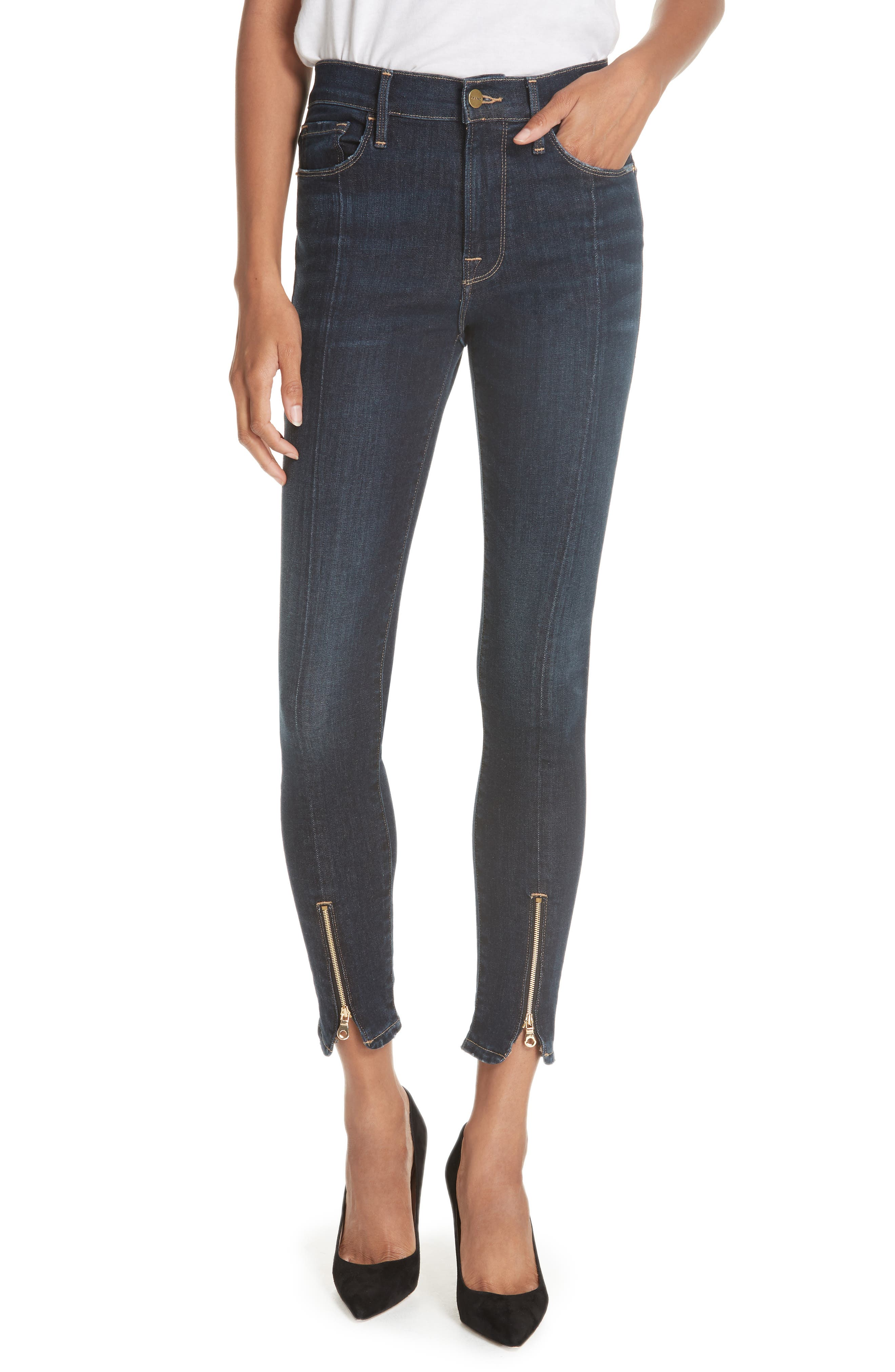 Le High Curve Split Hem Skinny Jeans,                             Main thumbnail 1, color,                             RUFFIN
