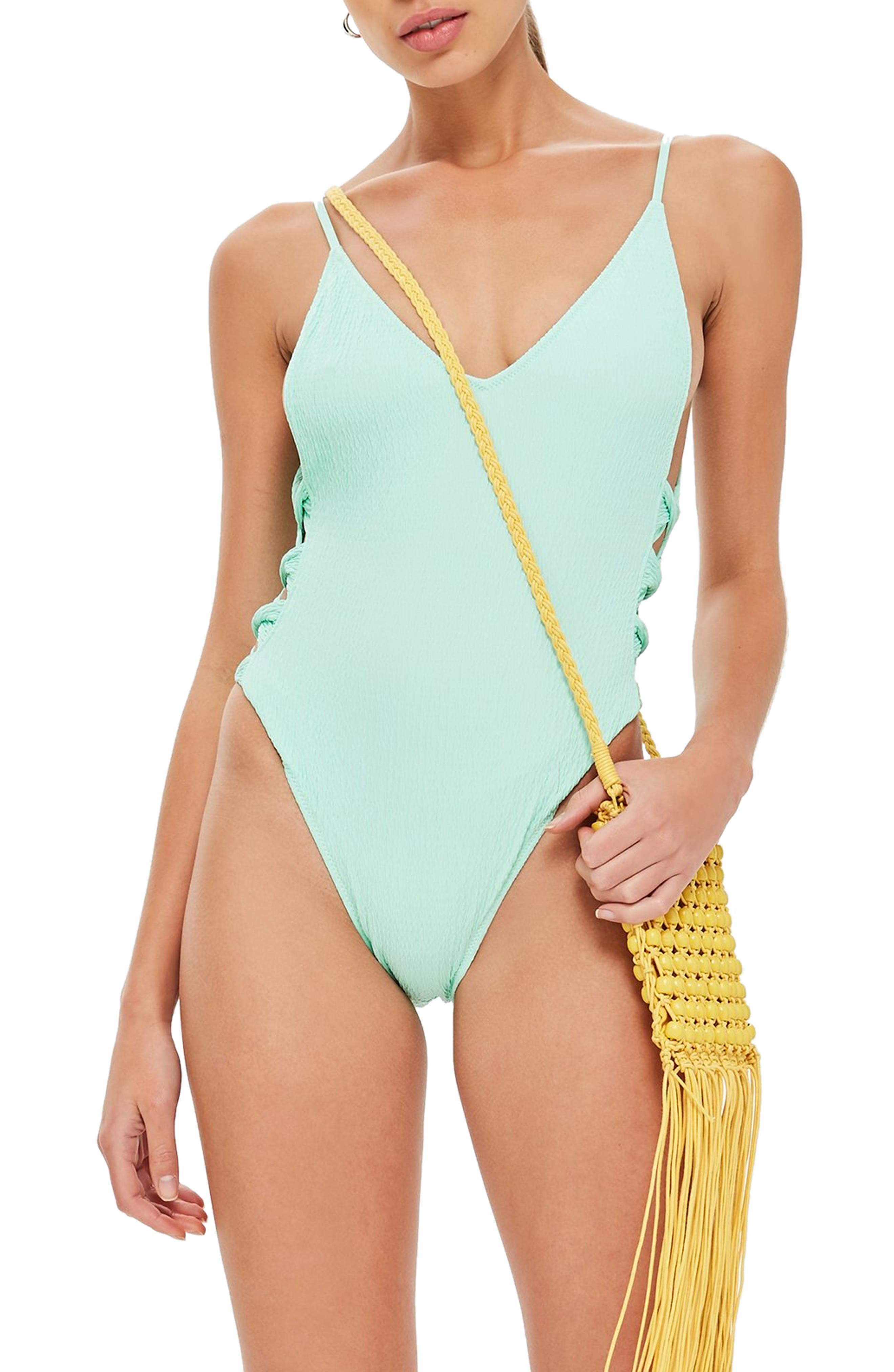 Twist Side Swimsuit,                         Main,                         color, BRIGHT GREEN