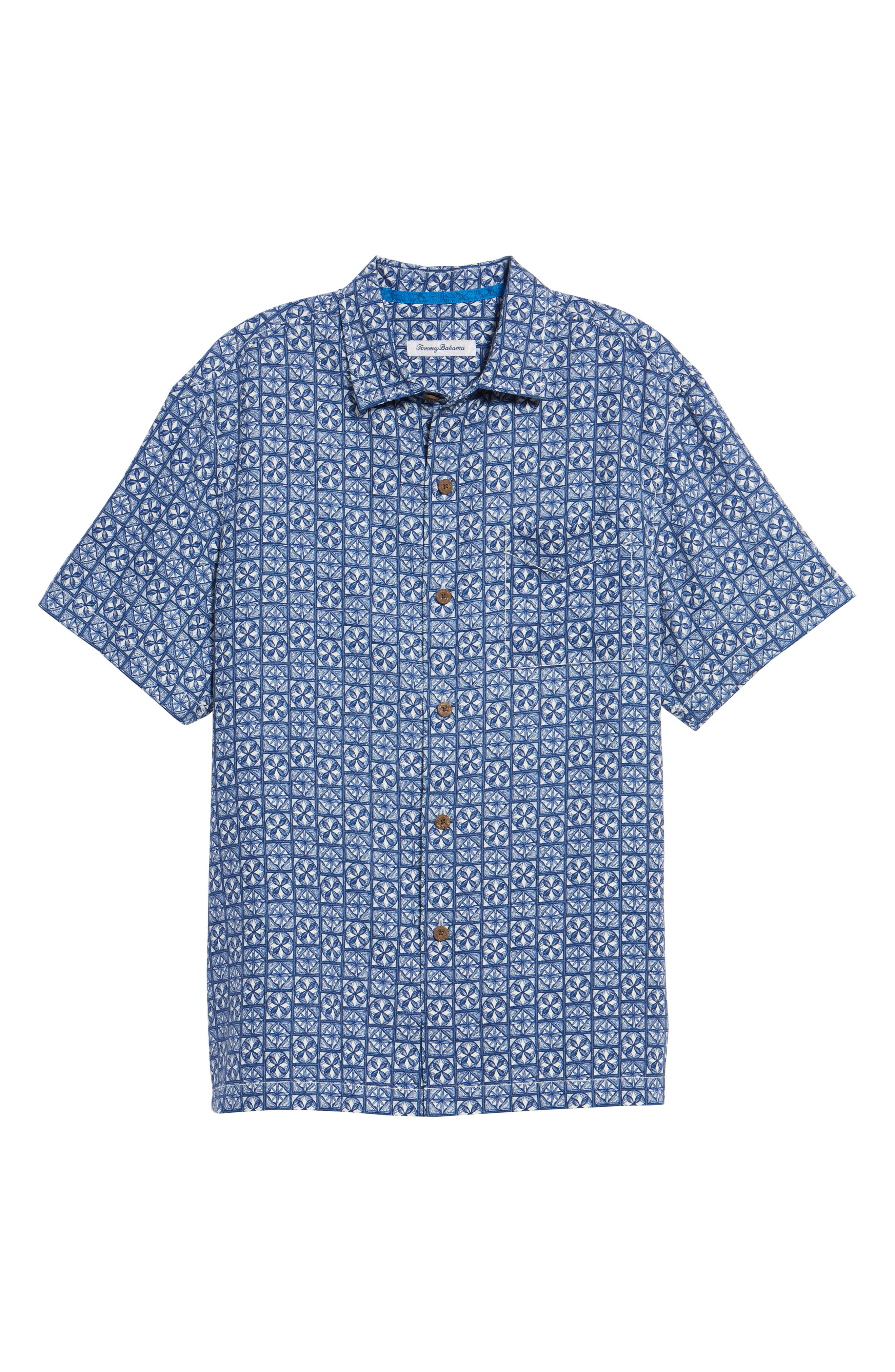 Juno Beach Geo Print Silk Camp Shirt,                             Alternate thumbnail 6, color,                             400
