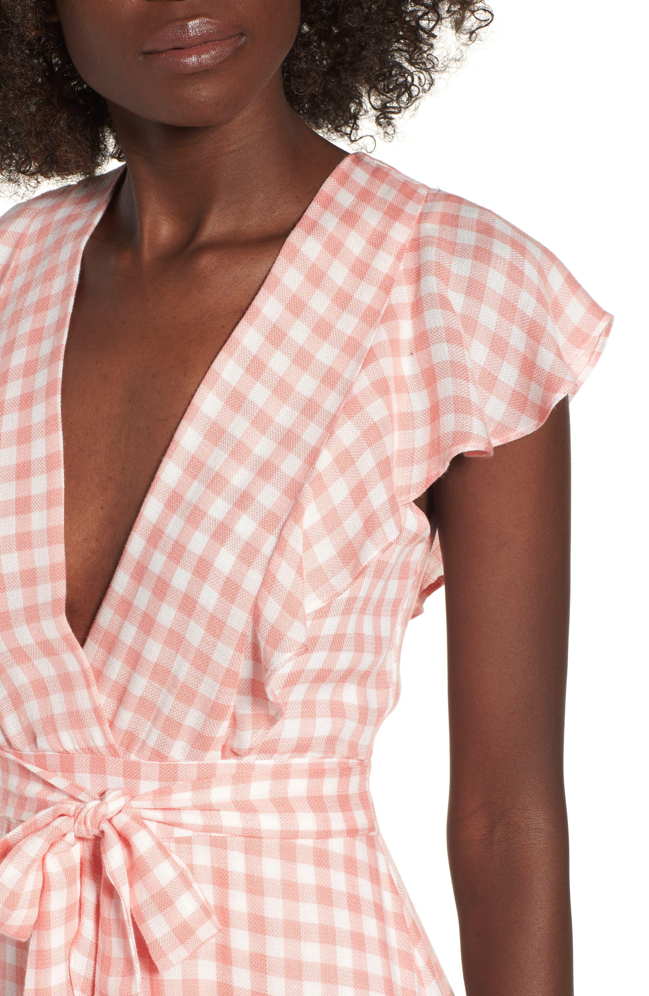 Brunch Ruffle Gingham Dress,                             Alternate thumbnail 4, color,                             693
