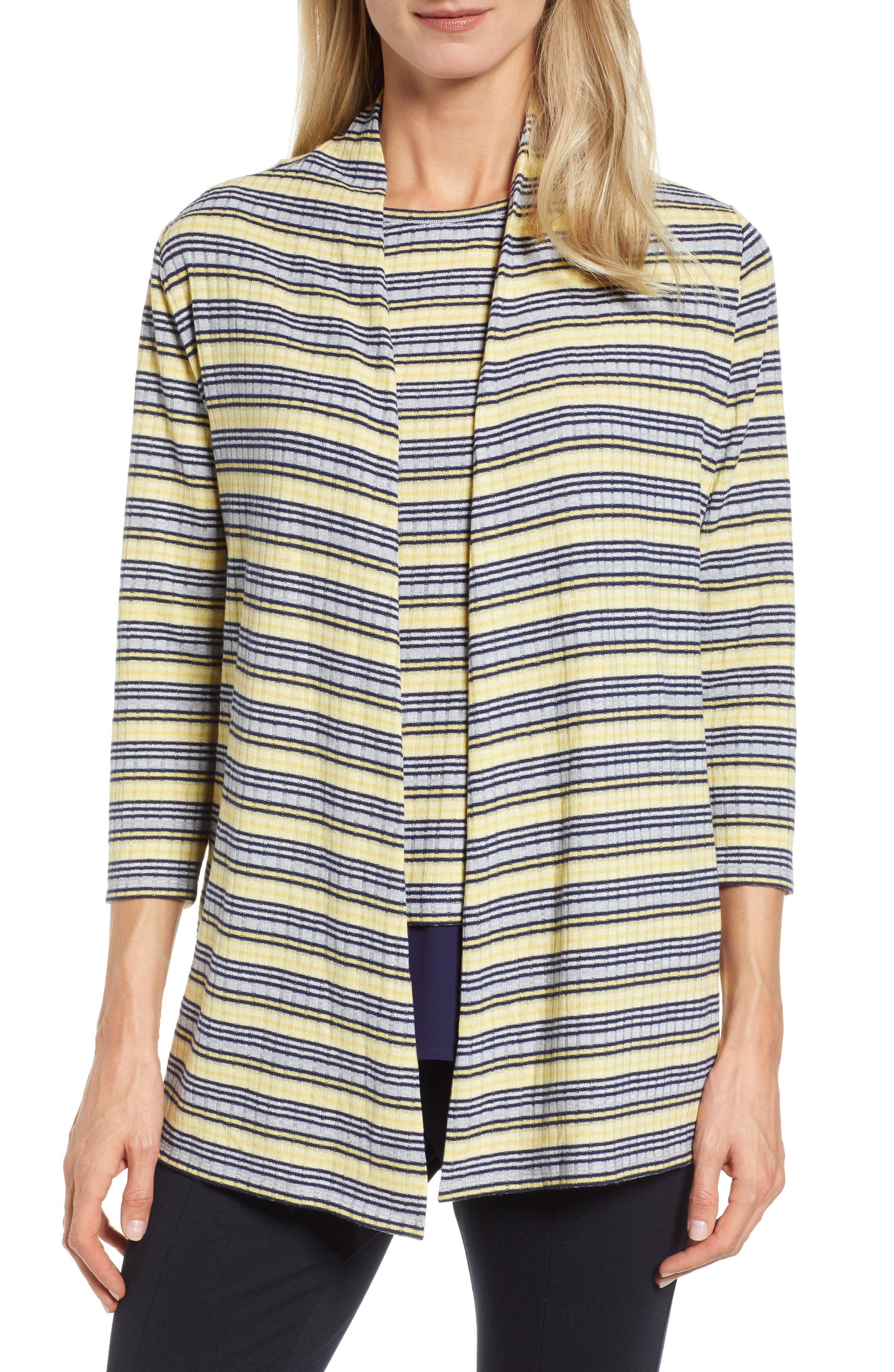 Chaus Shine Open Front Cardigan, Blue