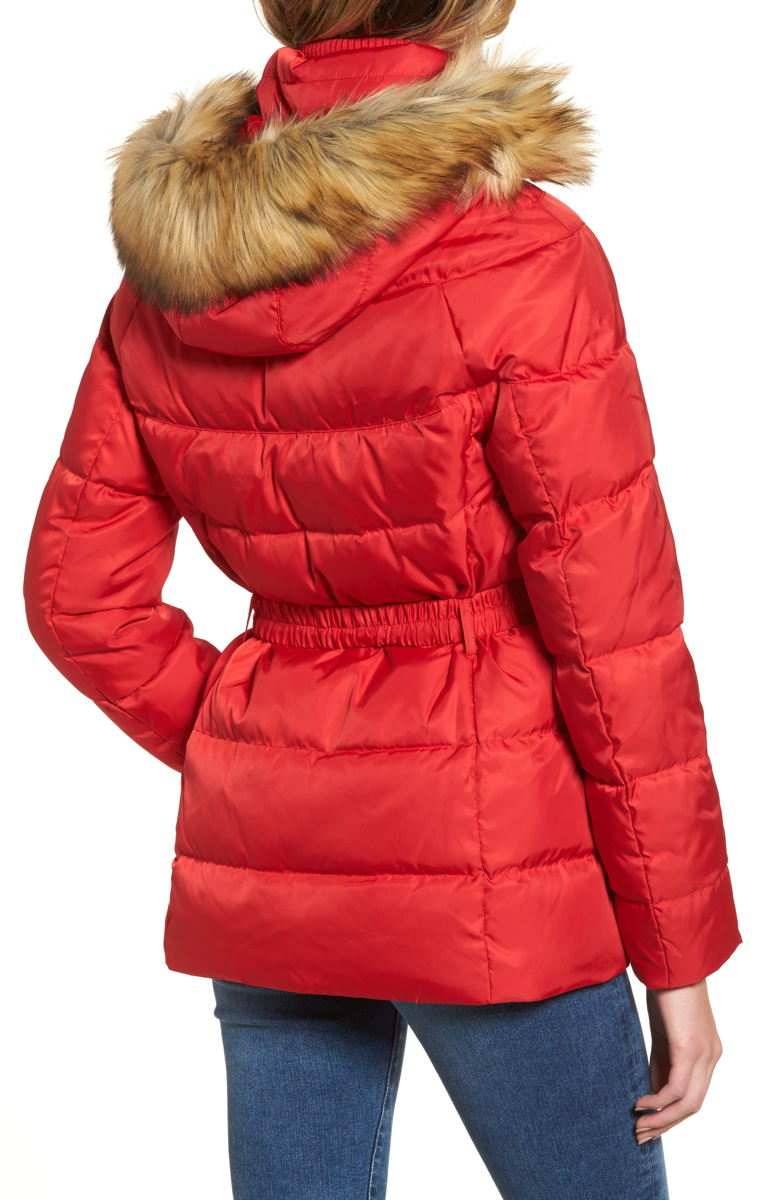 Belted Down & Feather Fill Coat with Faux Fur Trim Hood,                             Alternate thumbnail 8, color,