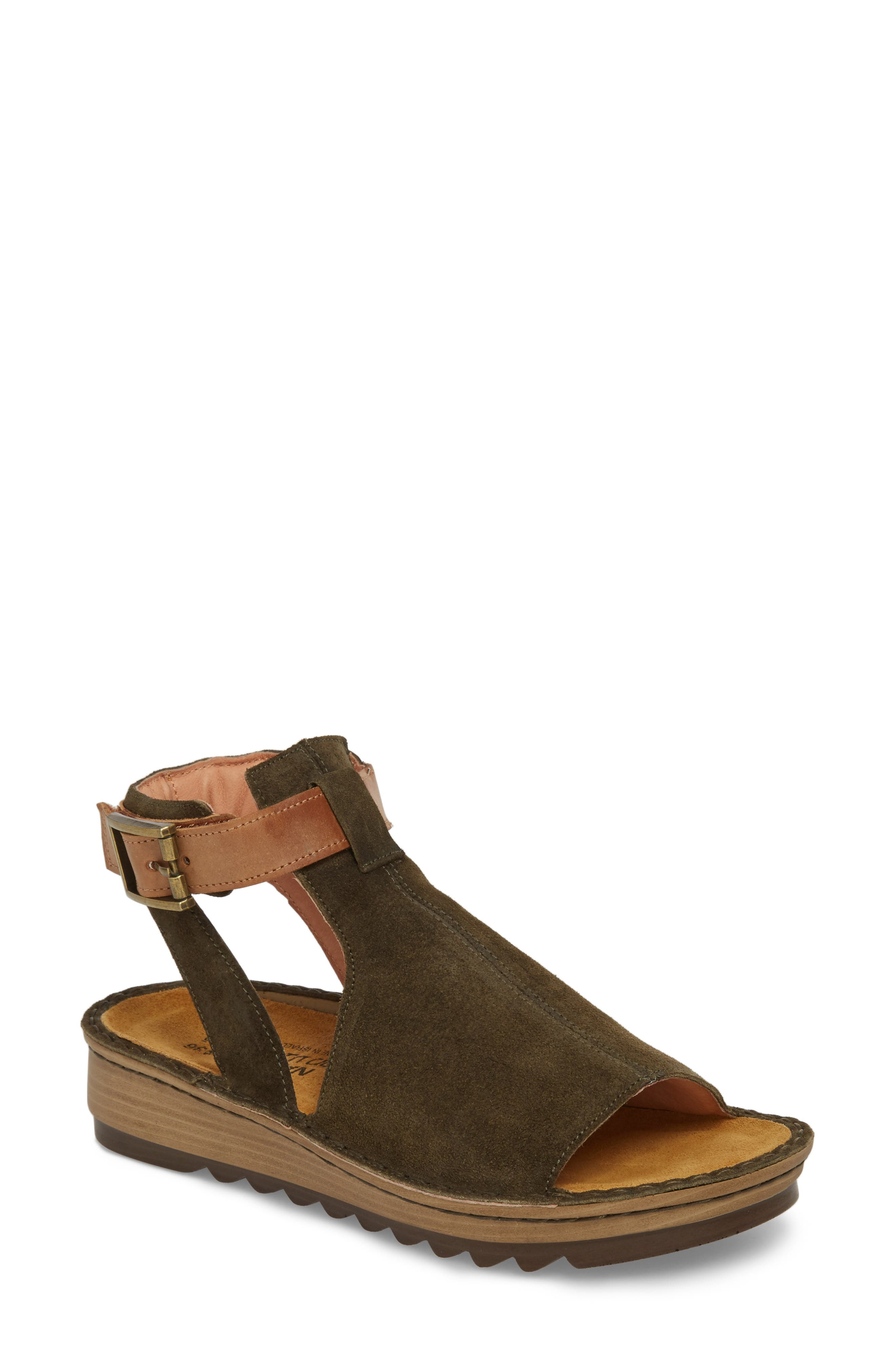 Verbena Sandal,                             Main thumbnail 1, color,                             BRUSHED OILY OLIVE SUEDE
