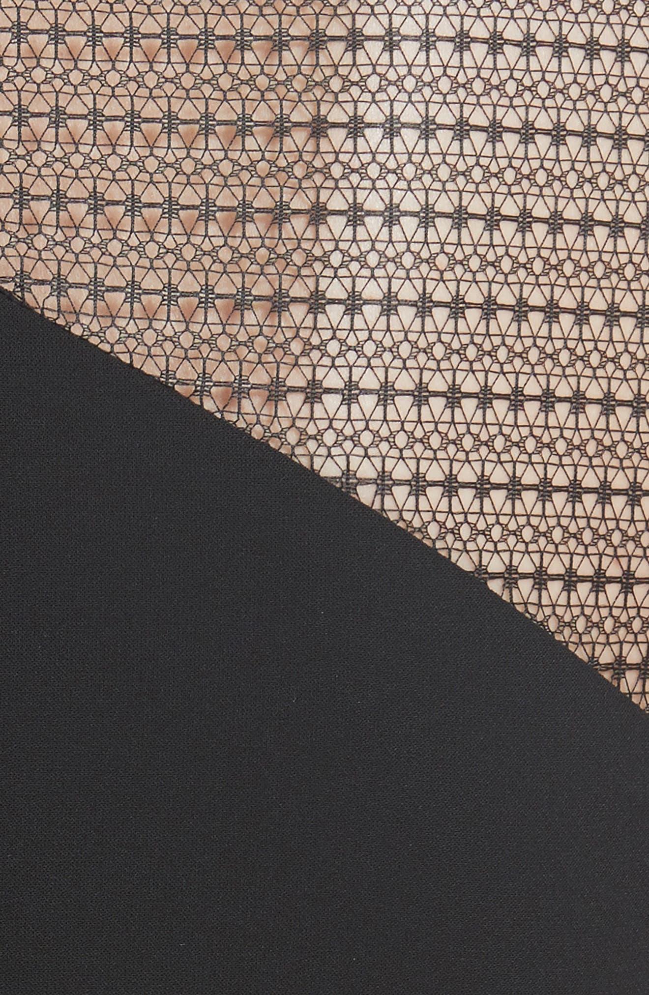 Ruffle Peplum Lace & Jersey Sheath Dress,                             Alternate thumbnail 5, color,                             001