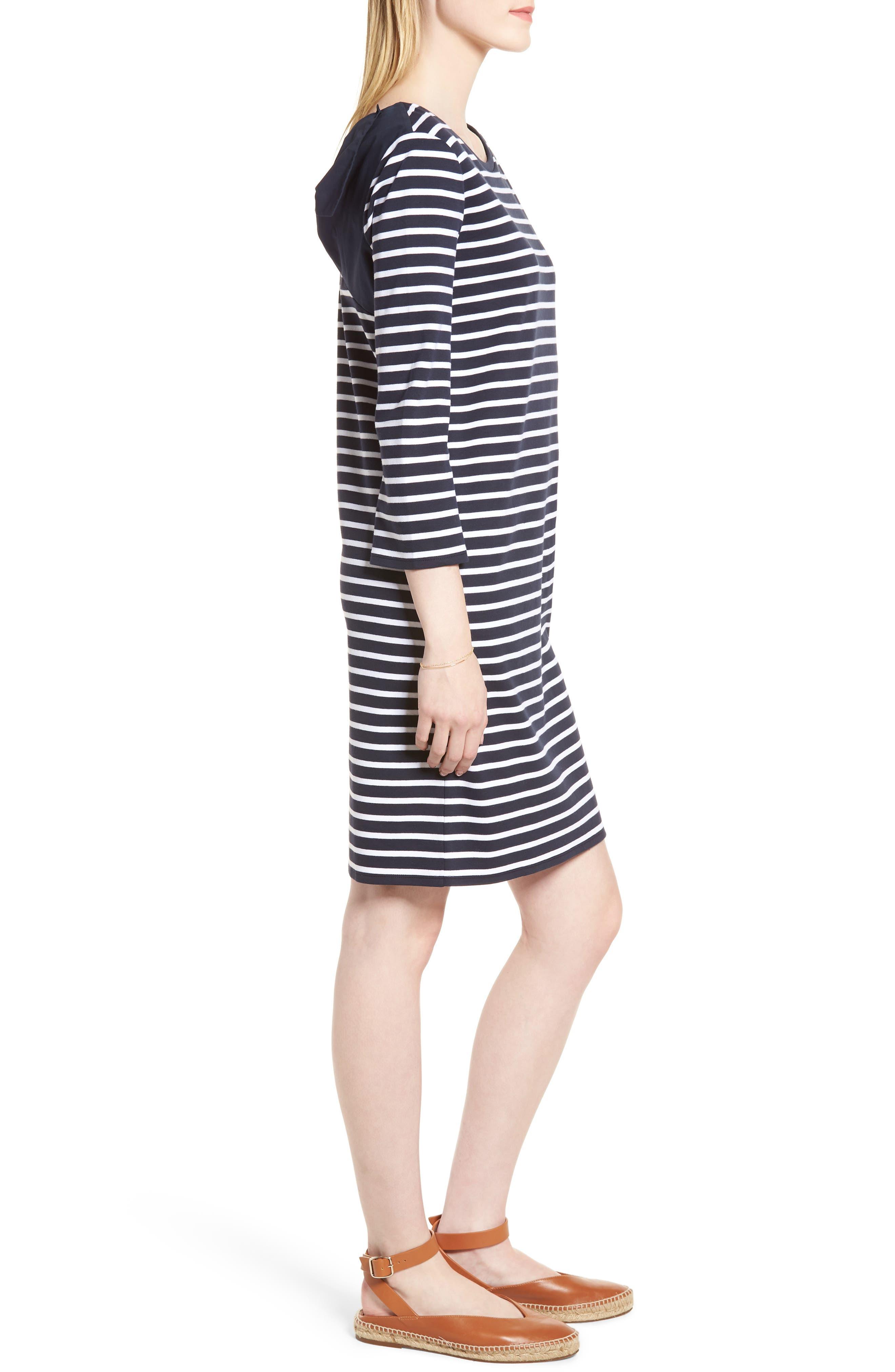 Bow Back Stripe Knit Dress,                             Alternate thumbnail 3, color,                             410