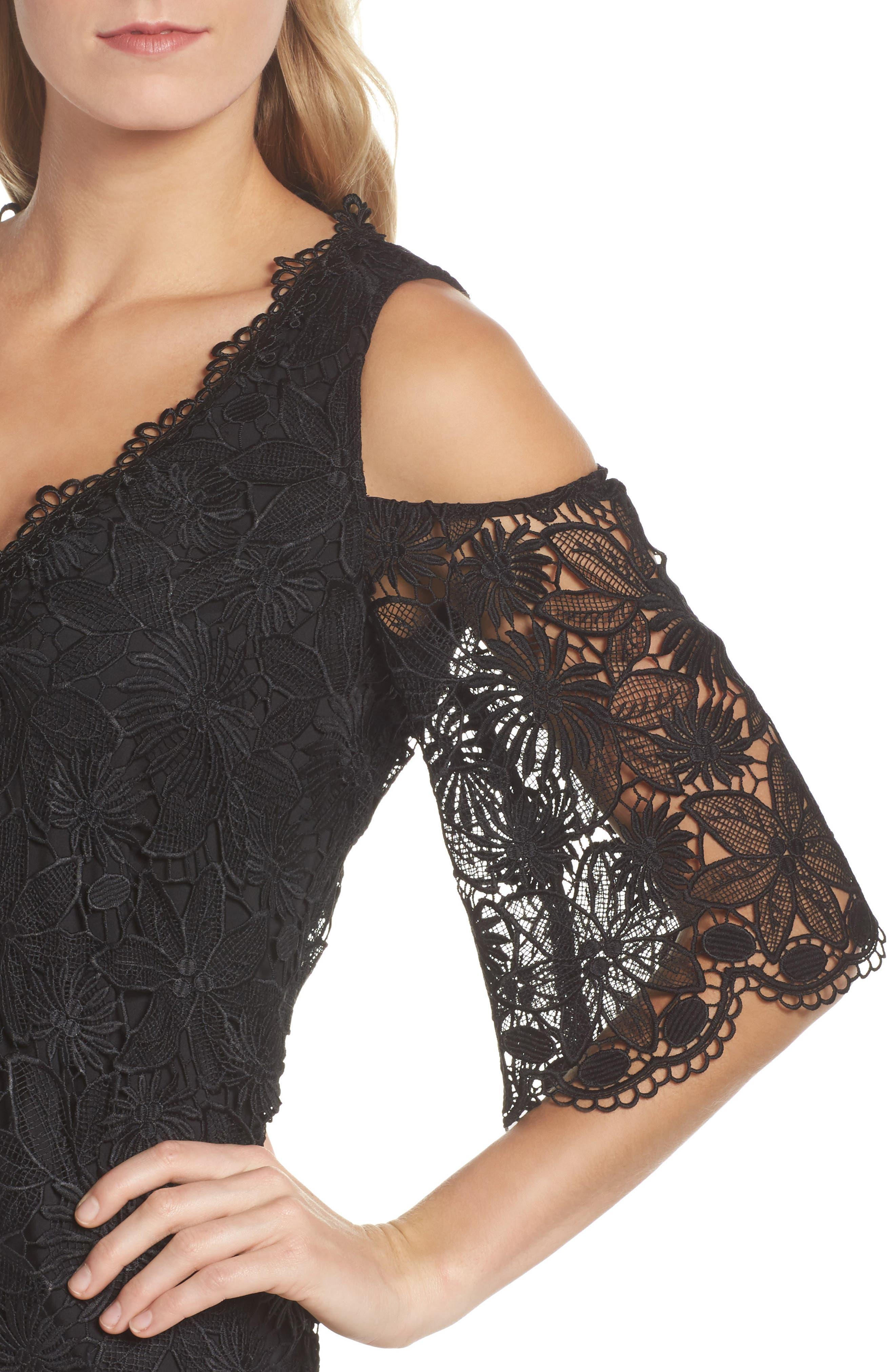 Edna Cold Shoulder Lace Dress,                             Alternate thumbnail 4, color,                             001