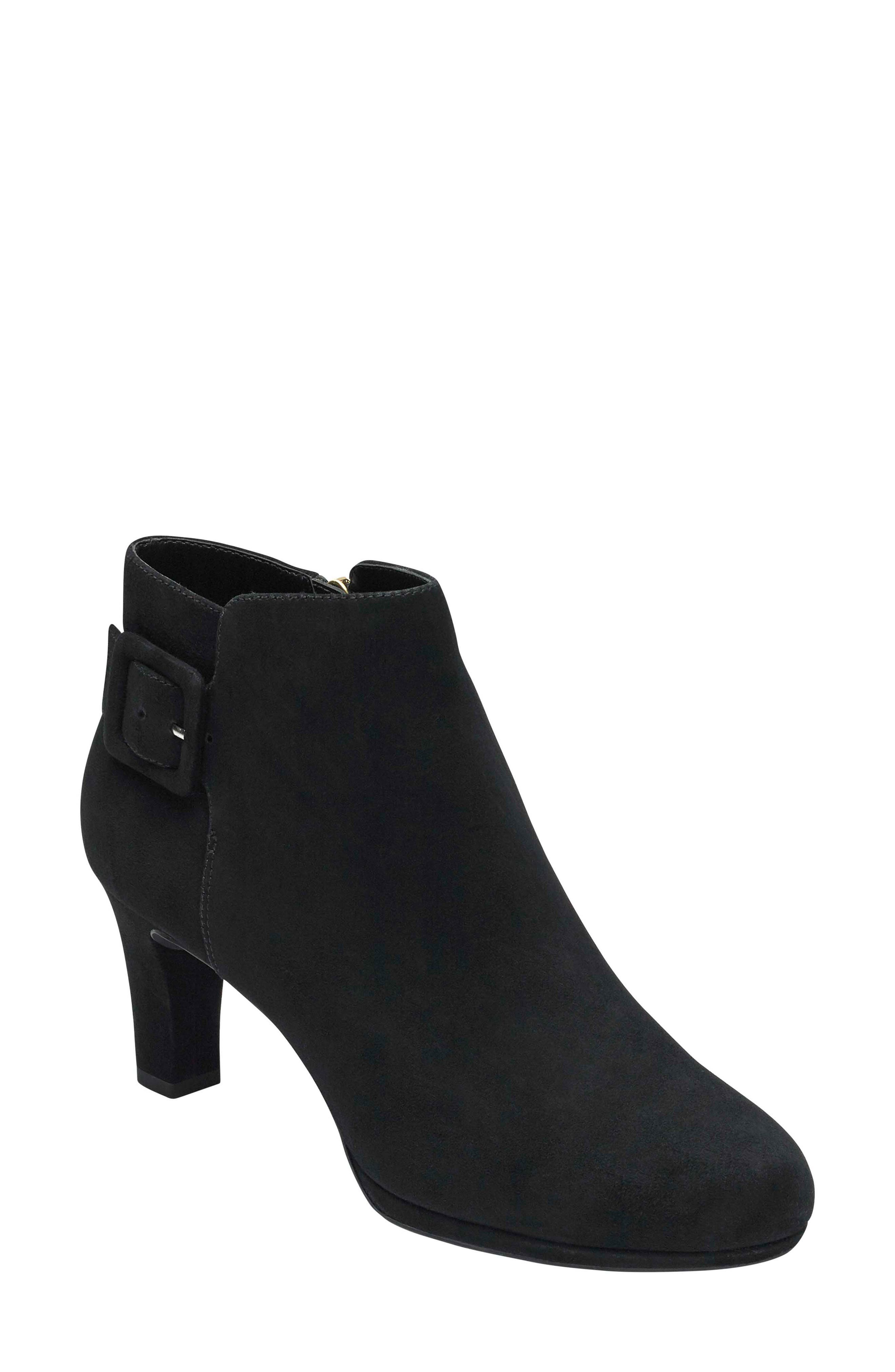 Total Motion Leah Bootie,                             Main thumbnail 1, color,                             BLACK SUEDE