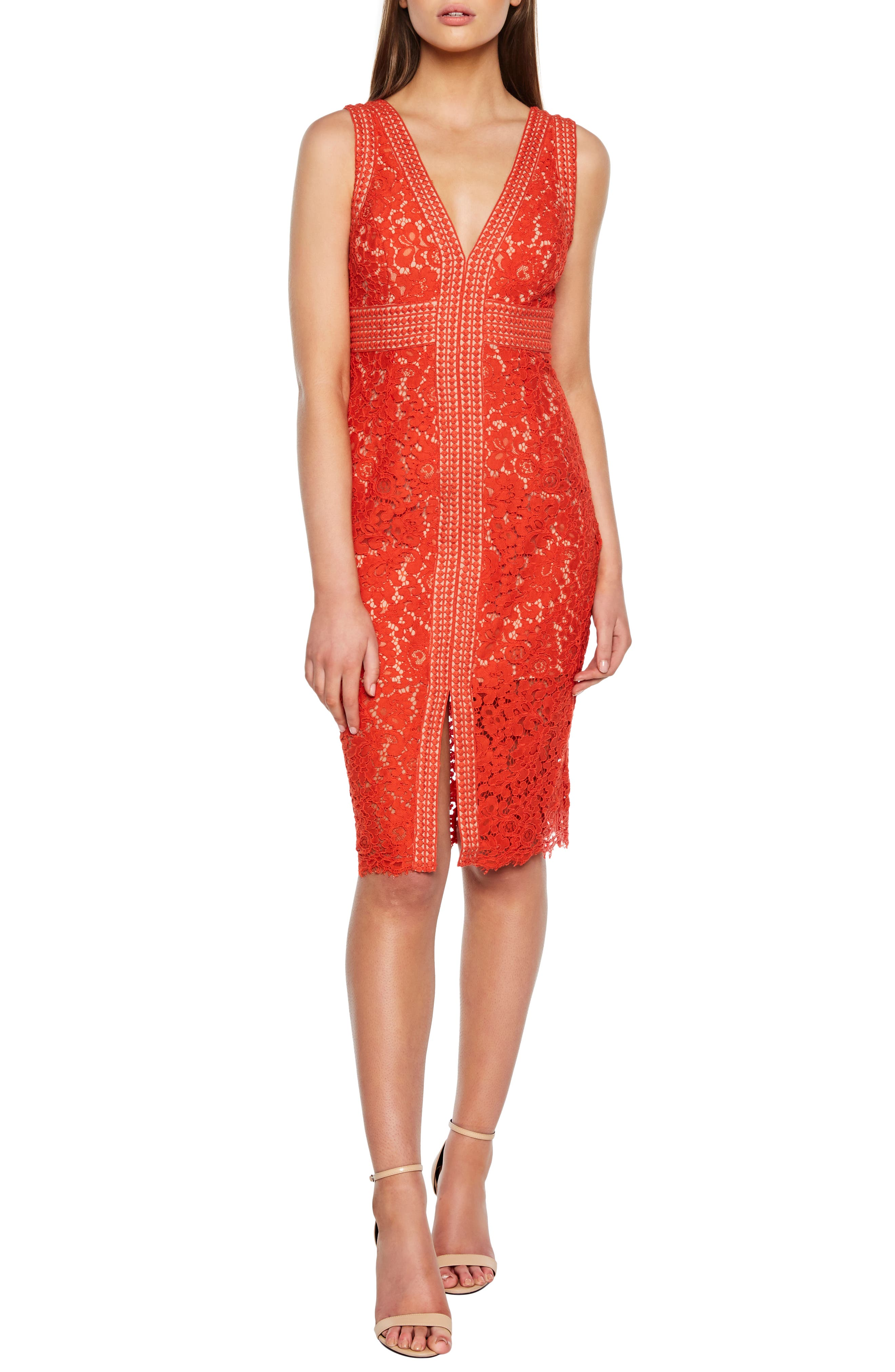 Bardot Lace Sheath Dress, Orange