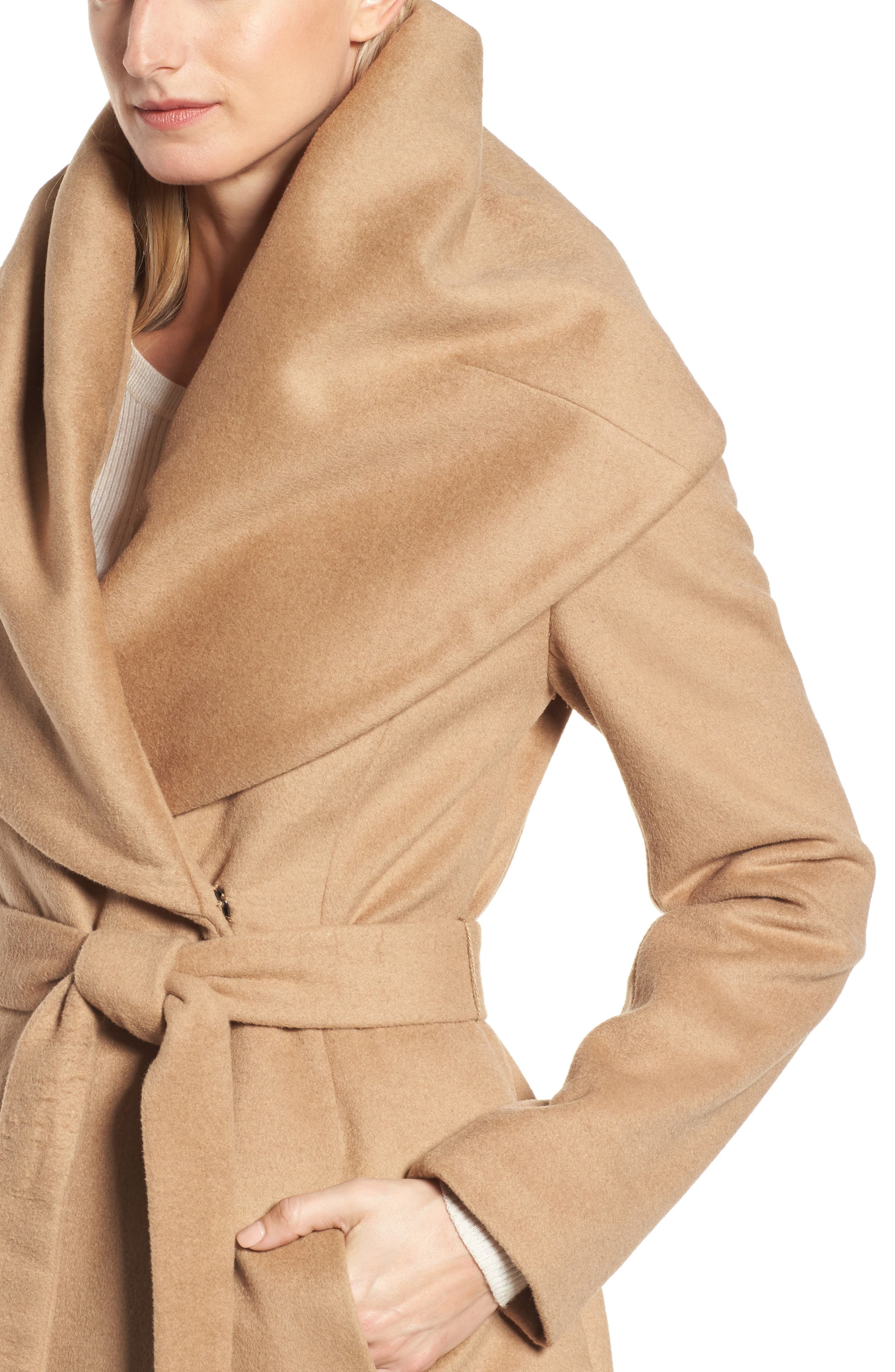 DKNY Wool Blend Shawl Collar Wrap Coat,                             Alternate thumbnail 4, color,                             252