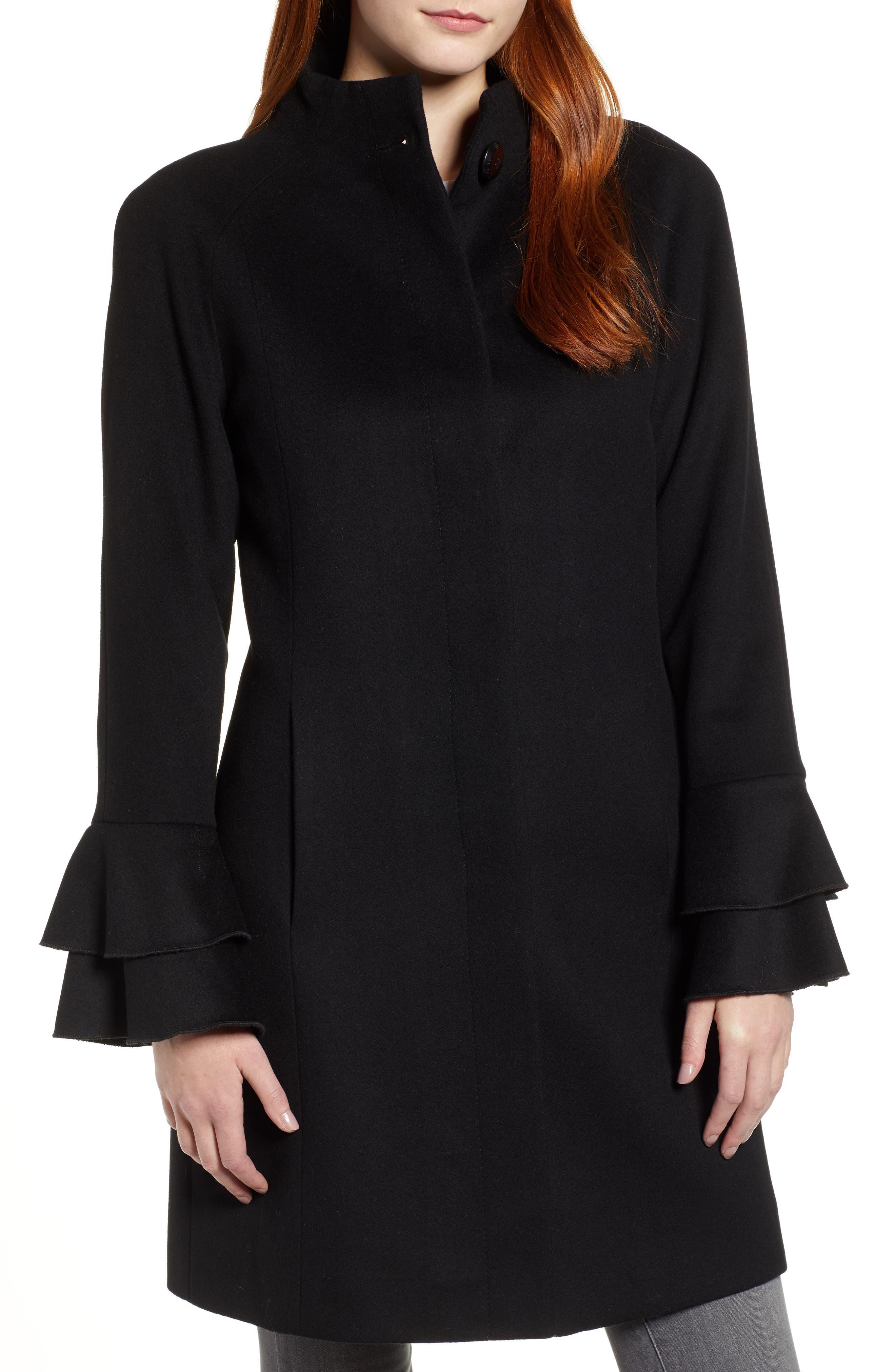 Sara Ruffle Cuff Wool Blend Coat,                             Alternate thumbnail 4, color,                             BLACK